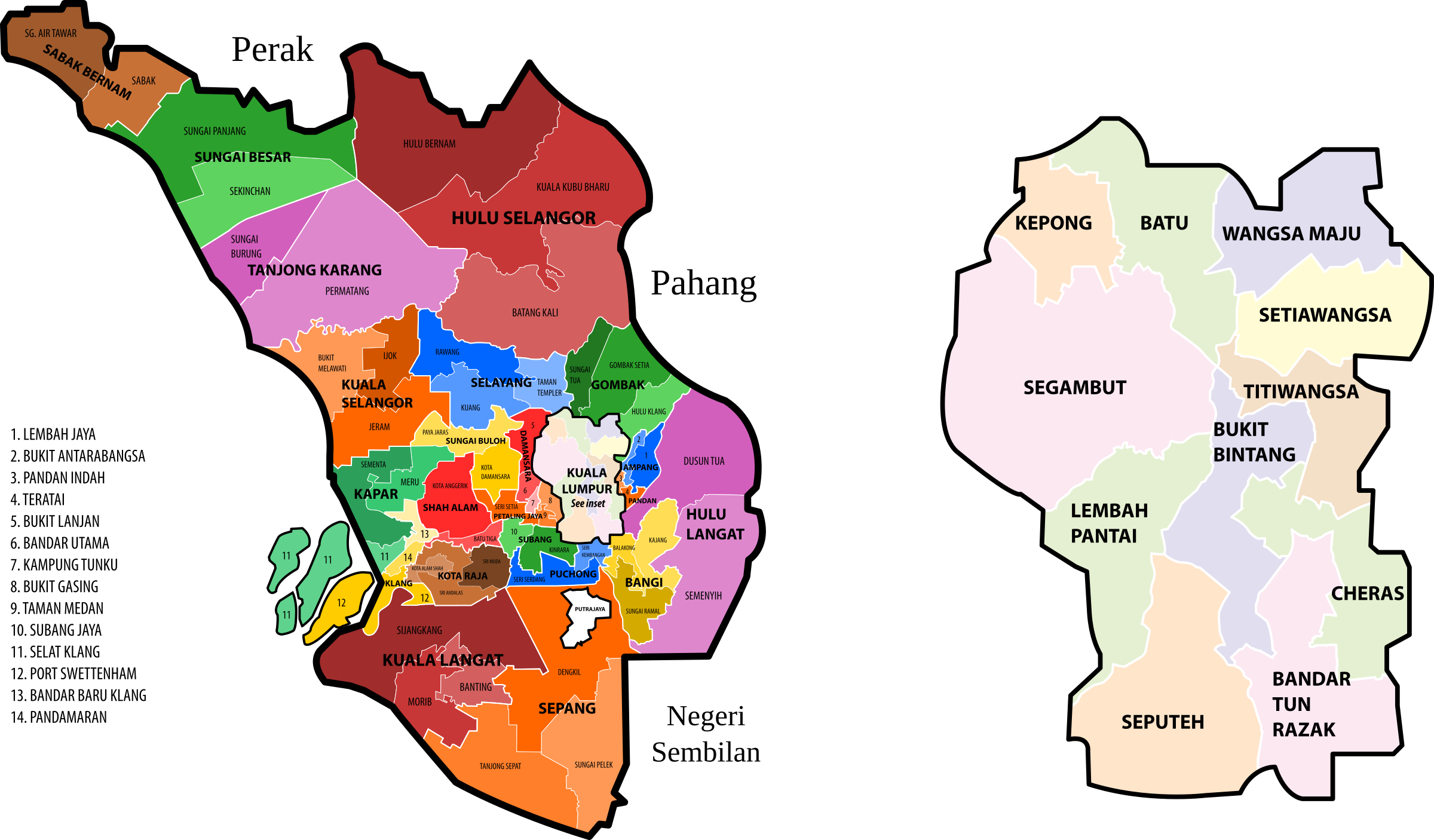 Selangor and Kuala Lumpur new electoral map (March 2017 revision) by derkommander0916