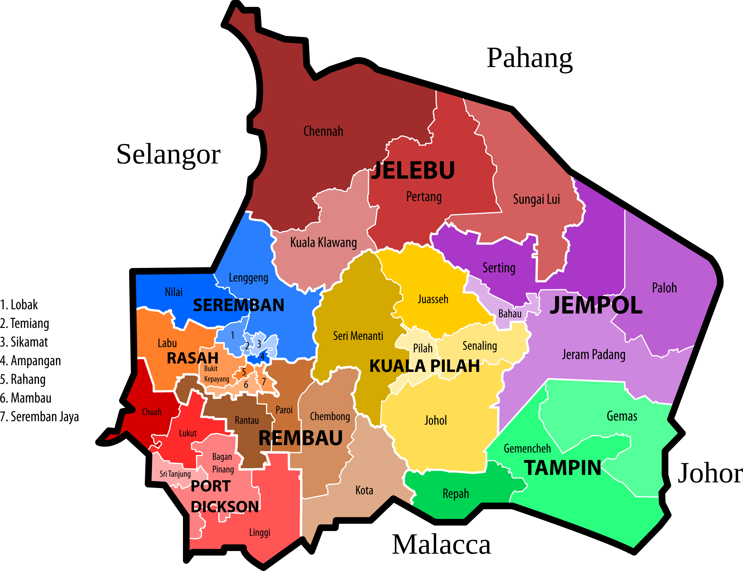 Negeri Sembilan new electoral map (March 2017 revision) by derkommander0916