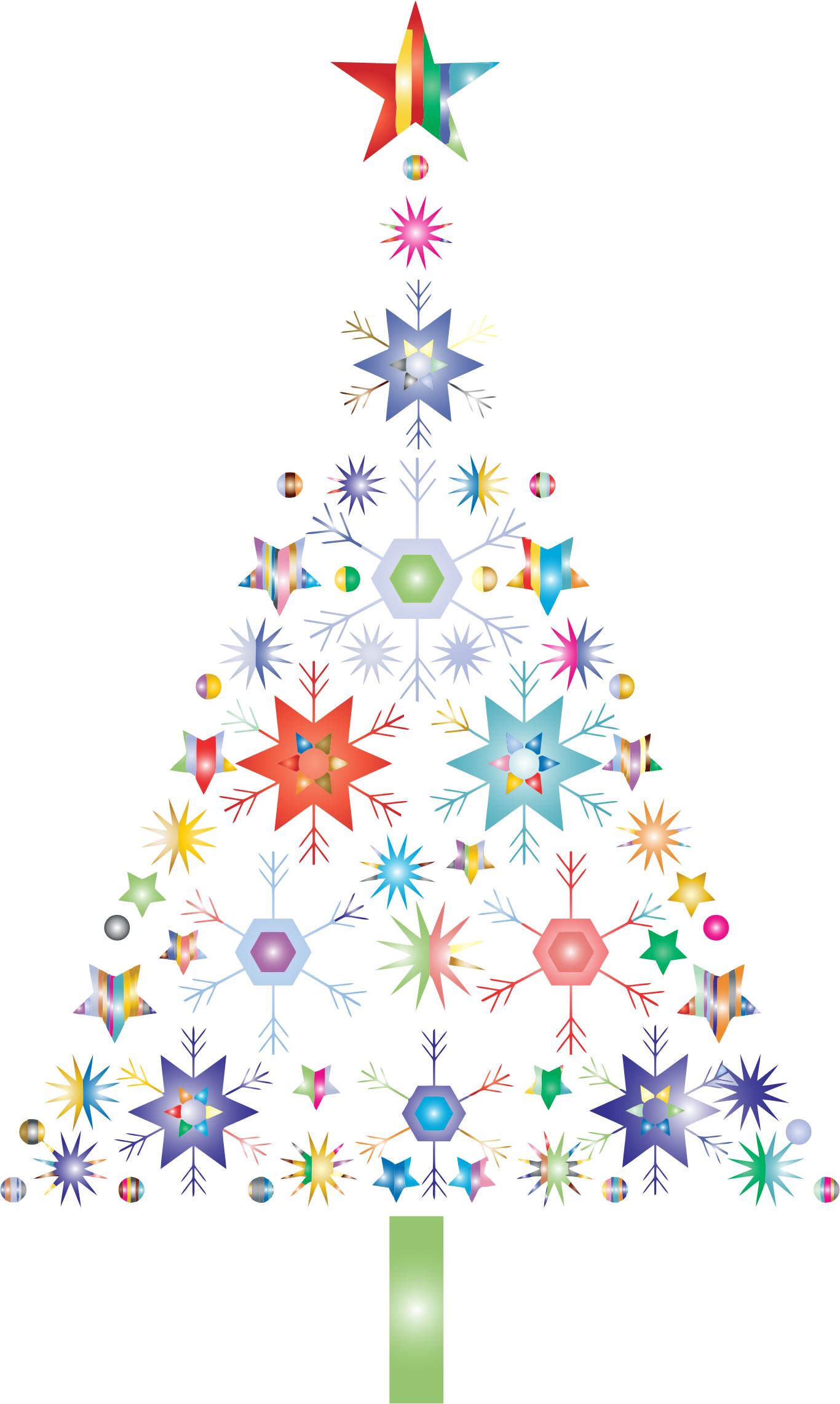 Abstract Snowflake Christmas Tree By Karen Arnold Prismatic No Background by GDJ