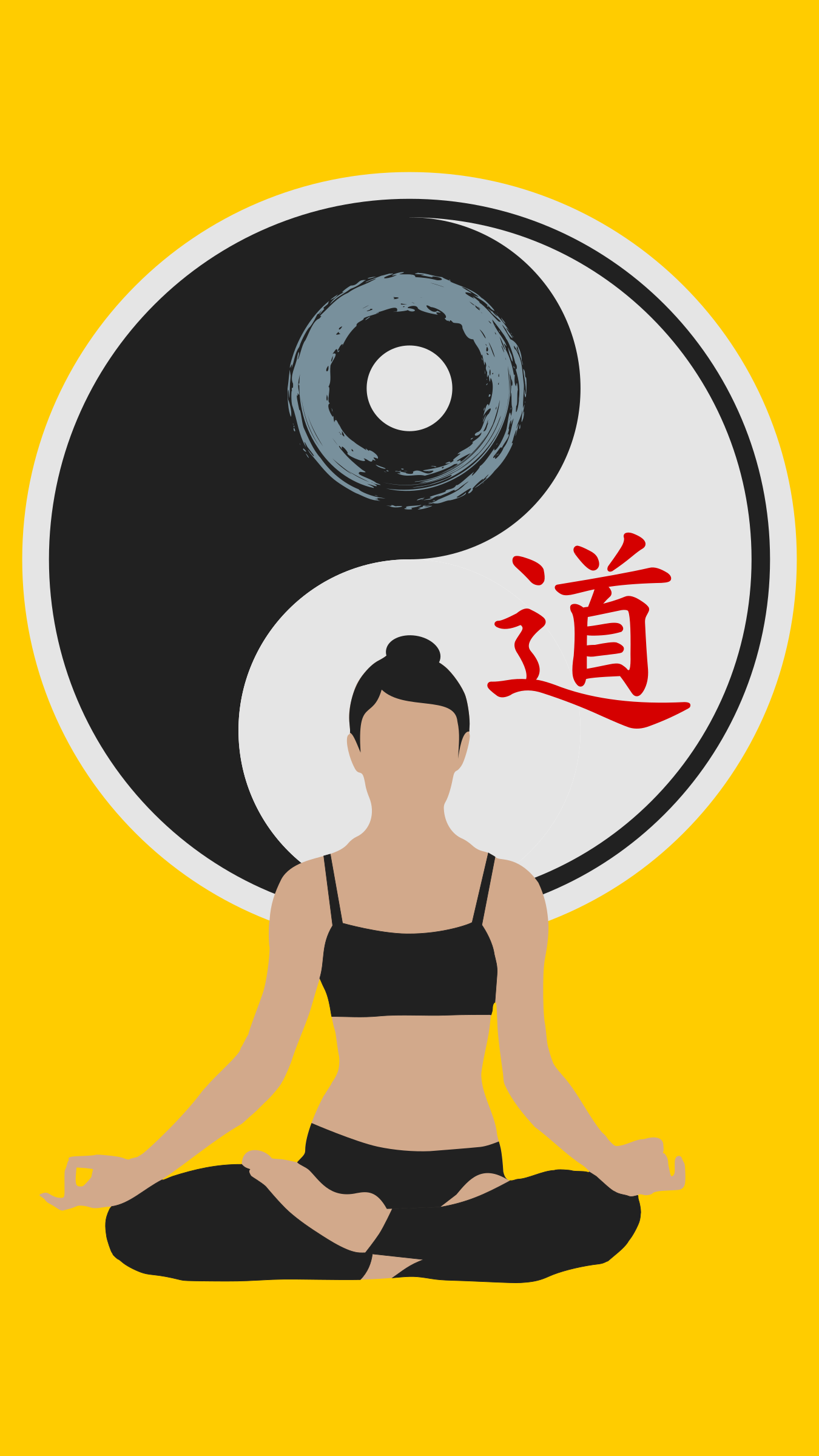 Woman Yoga Yin-Yang yellow / Mujer Yin-Yang Amarillo by DG-RA
