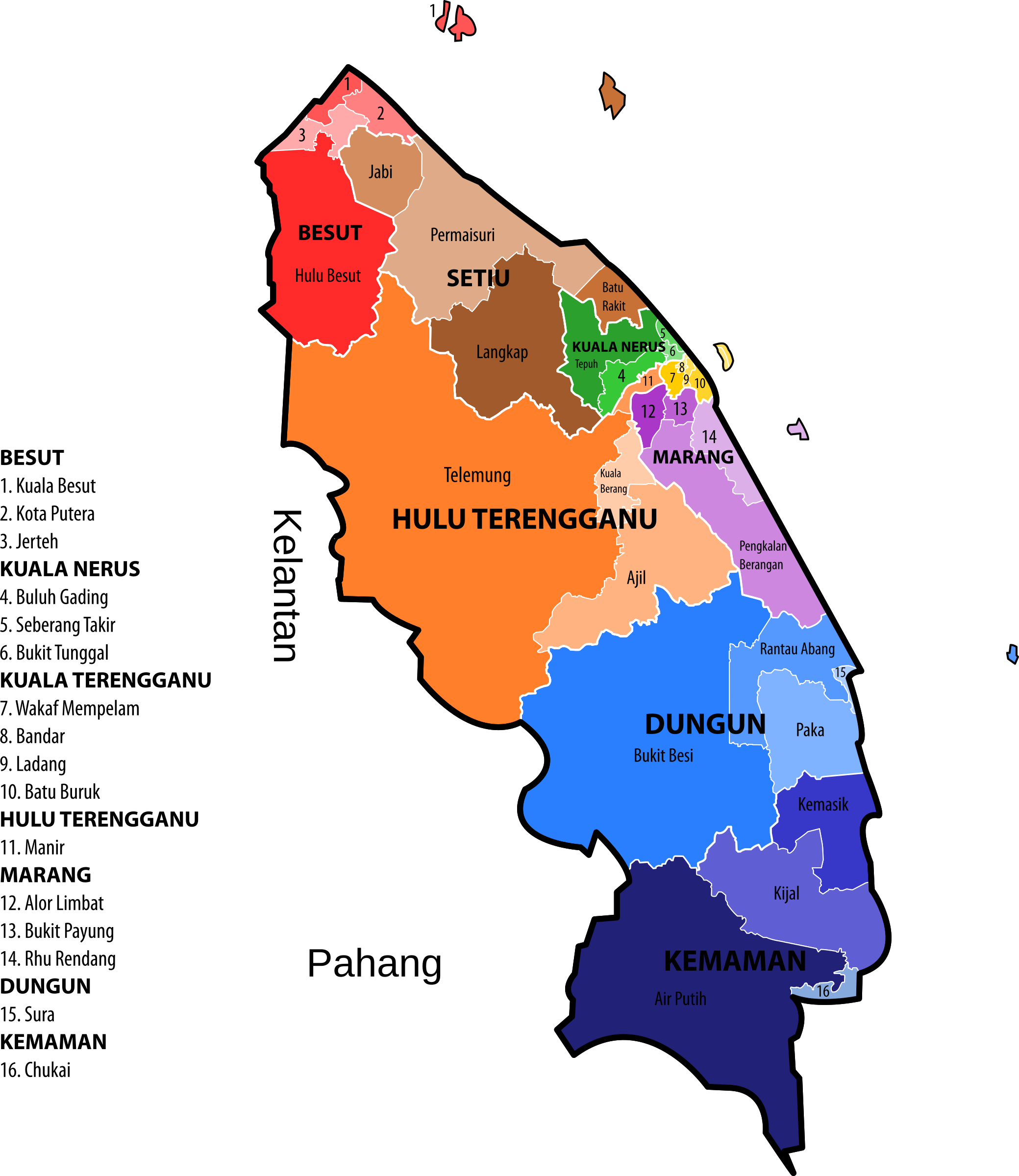 Terengganu new electoral map (March 2017) by derkommander0916