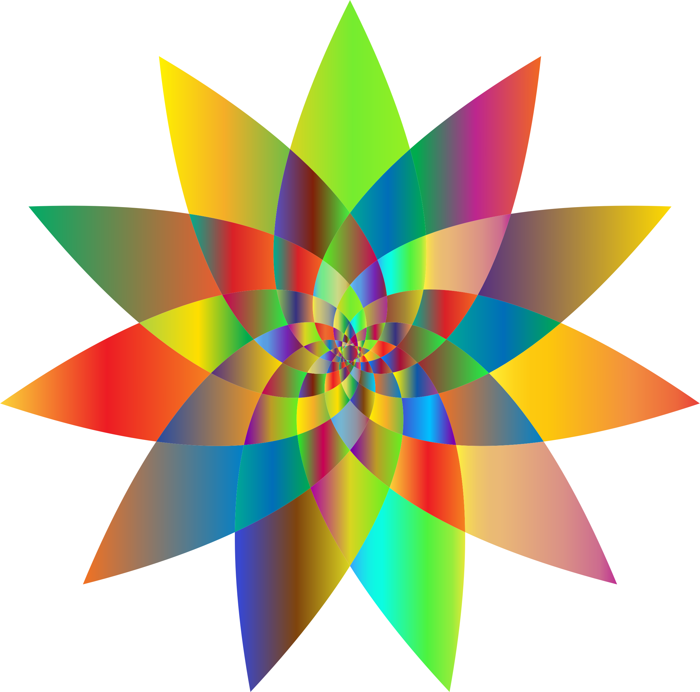 Clipart - Prismatic Abstract Flower Line Art 2