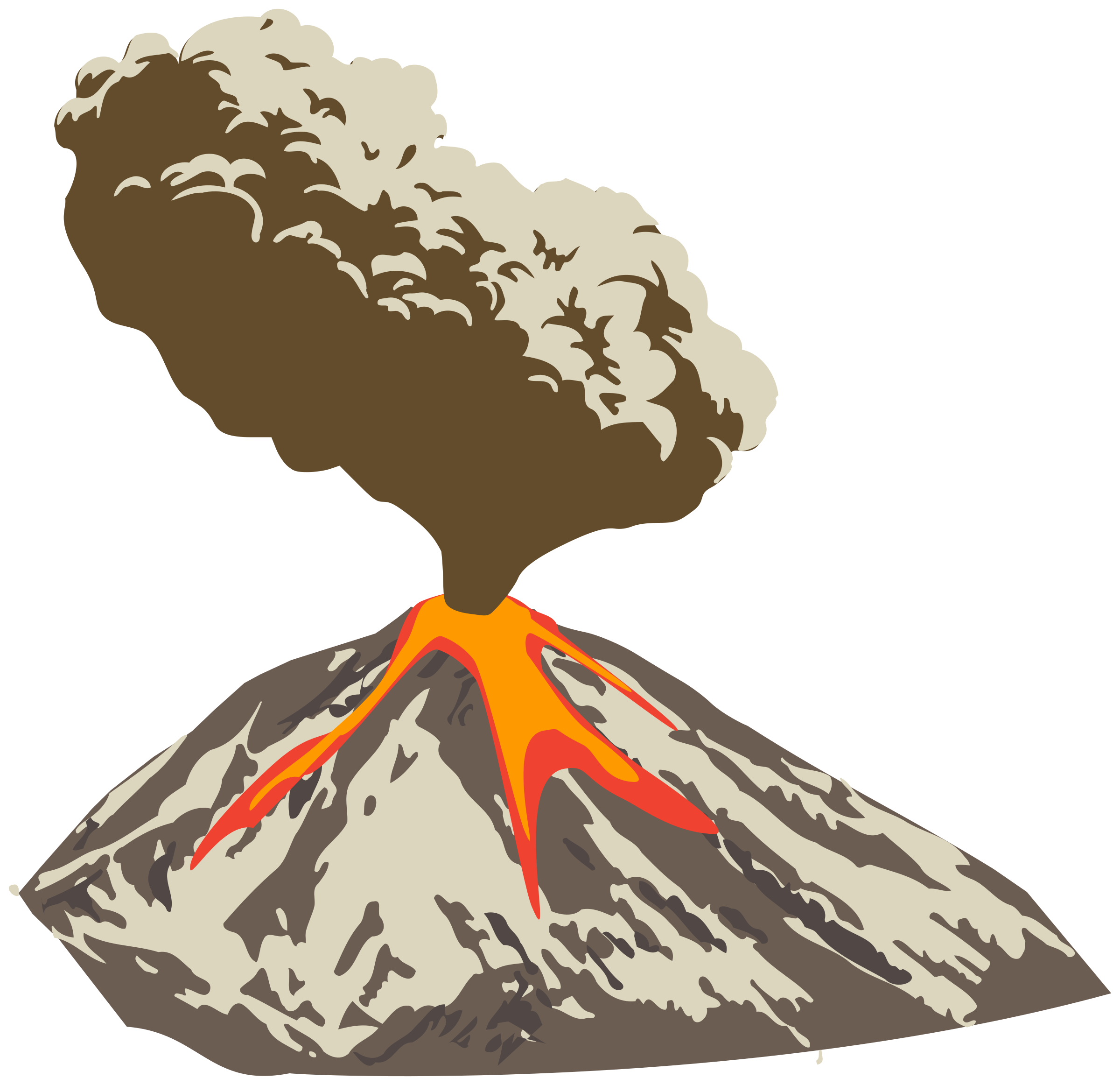 Erupting volcano with ash plume and lava flow by Juhele