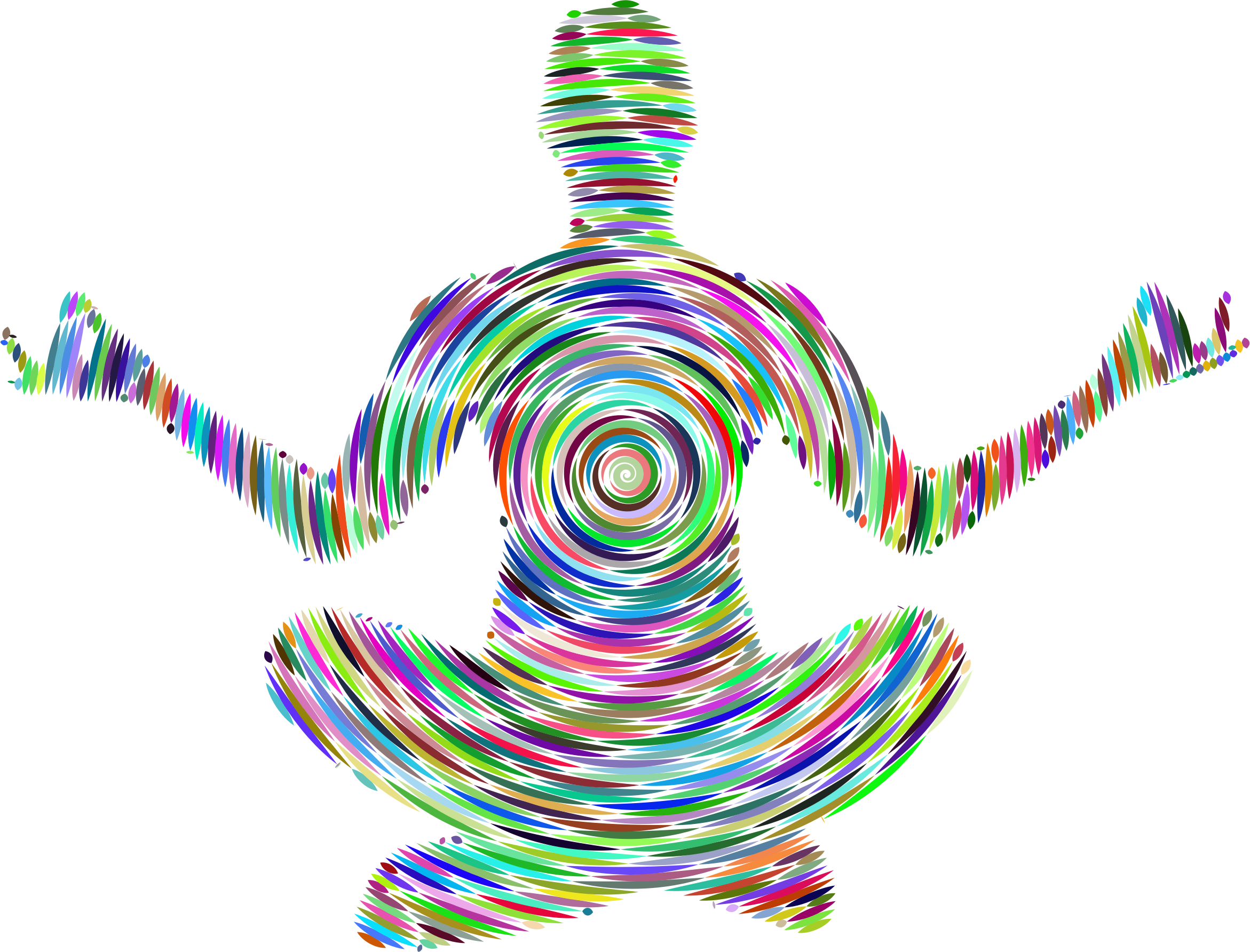Prismatic Female Yoga Pose Silhouette 14 Concentric by GDJ