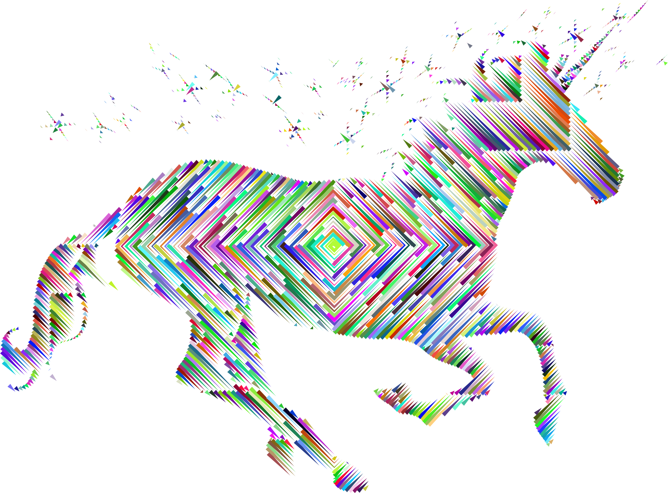 Prismatic Magical Unicorn Silhouette Concentric by GDJ