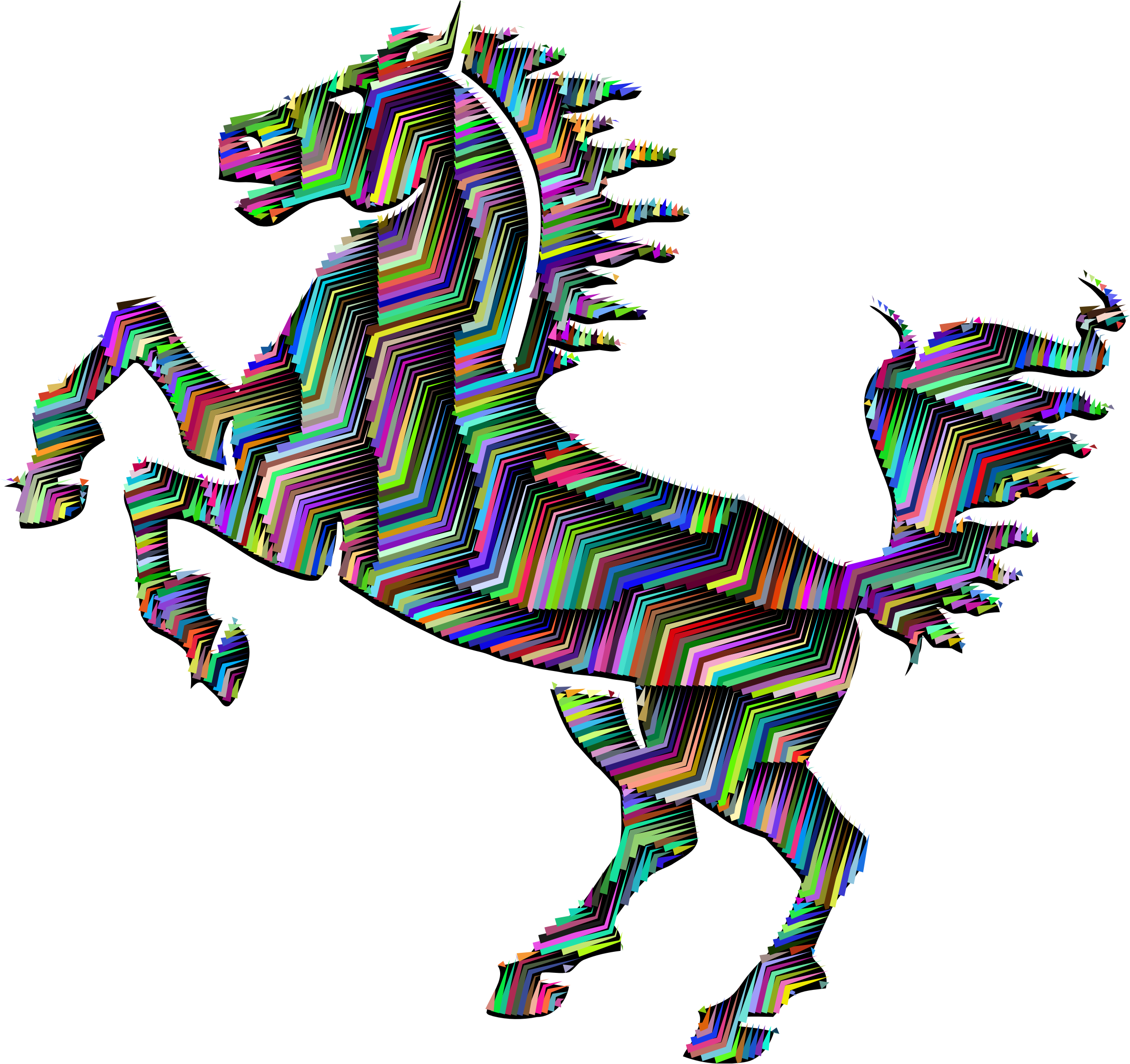 Prismatic Horse Silhouette Abstract Line Art With Background by GDJ