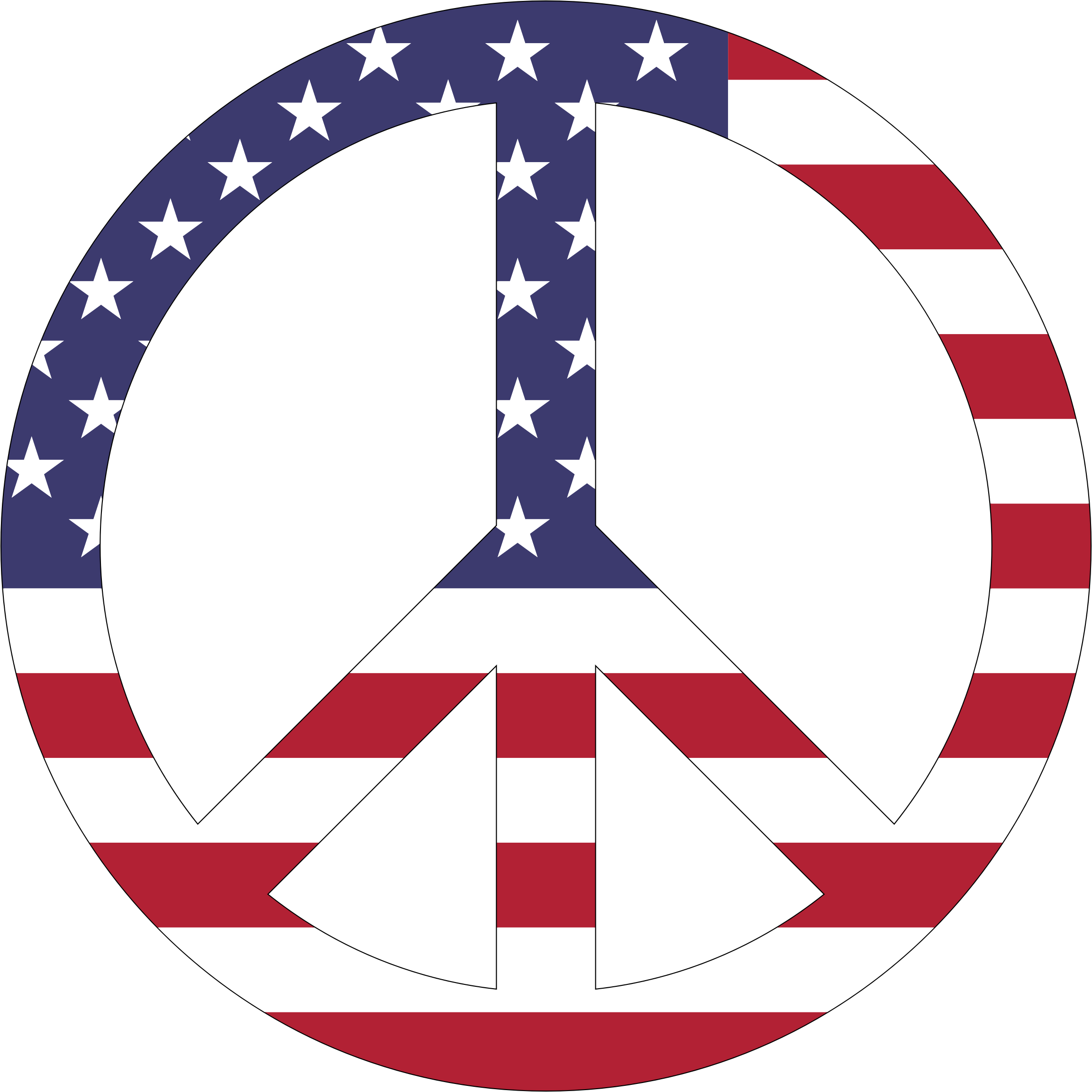 American Flag Peace Sign With Stroke by GDJ