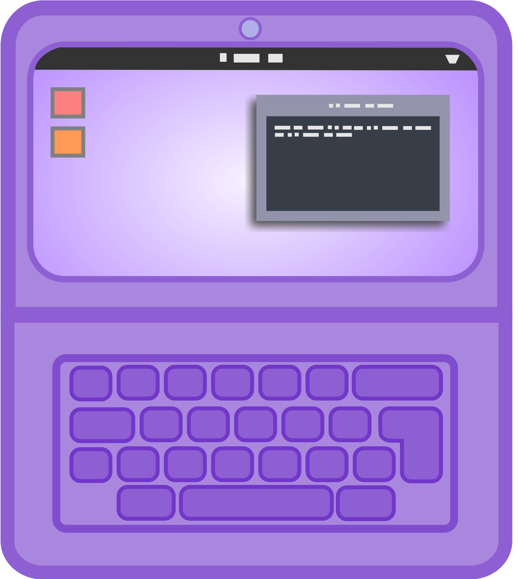 Purple Laptop with Gnome by argumento