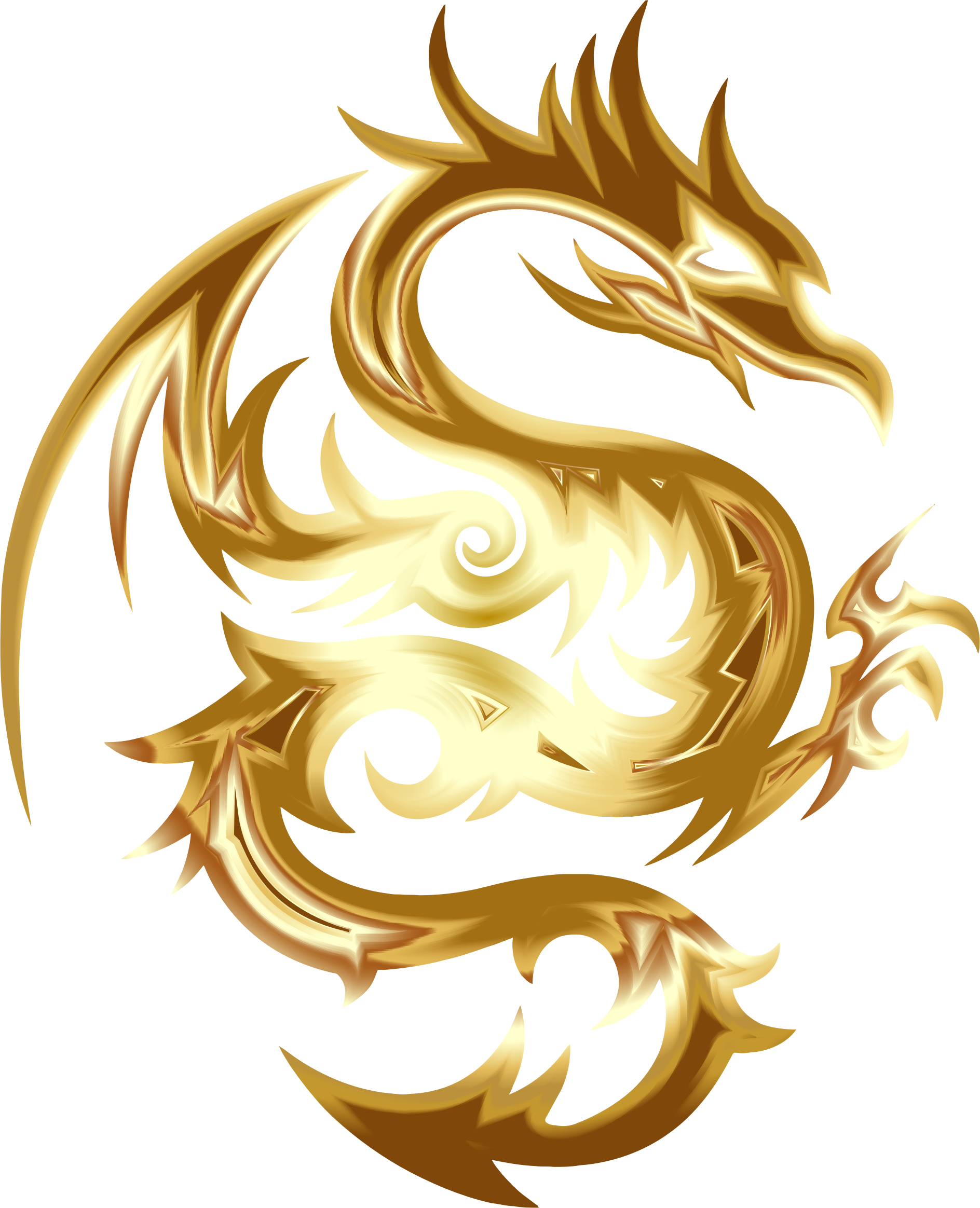 Gold Tribal Dragon 56 No Background by GDJ