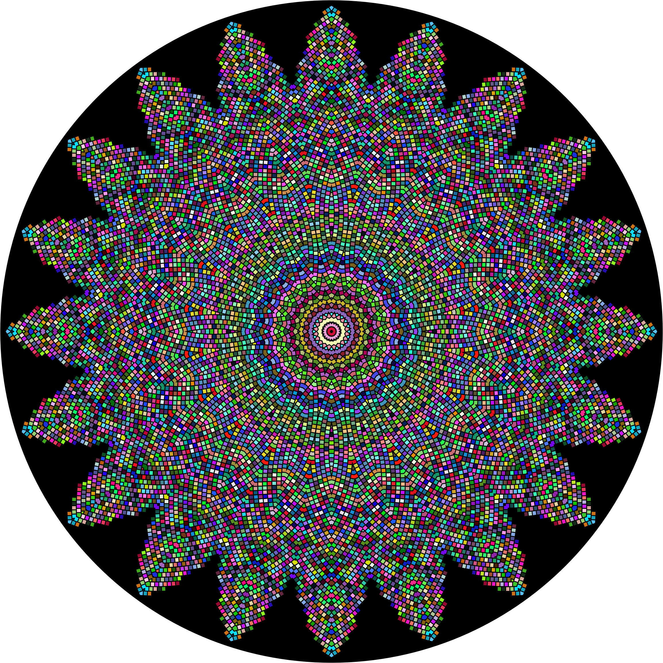 Prismatic Tiles Geometric Mandala by GDJ