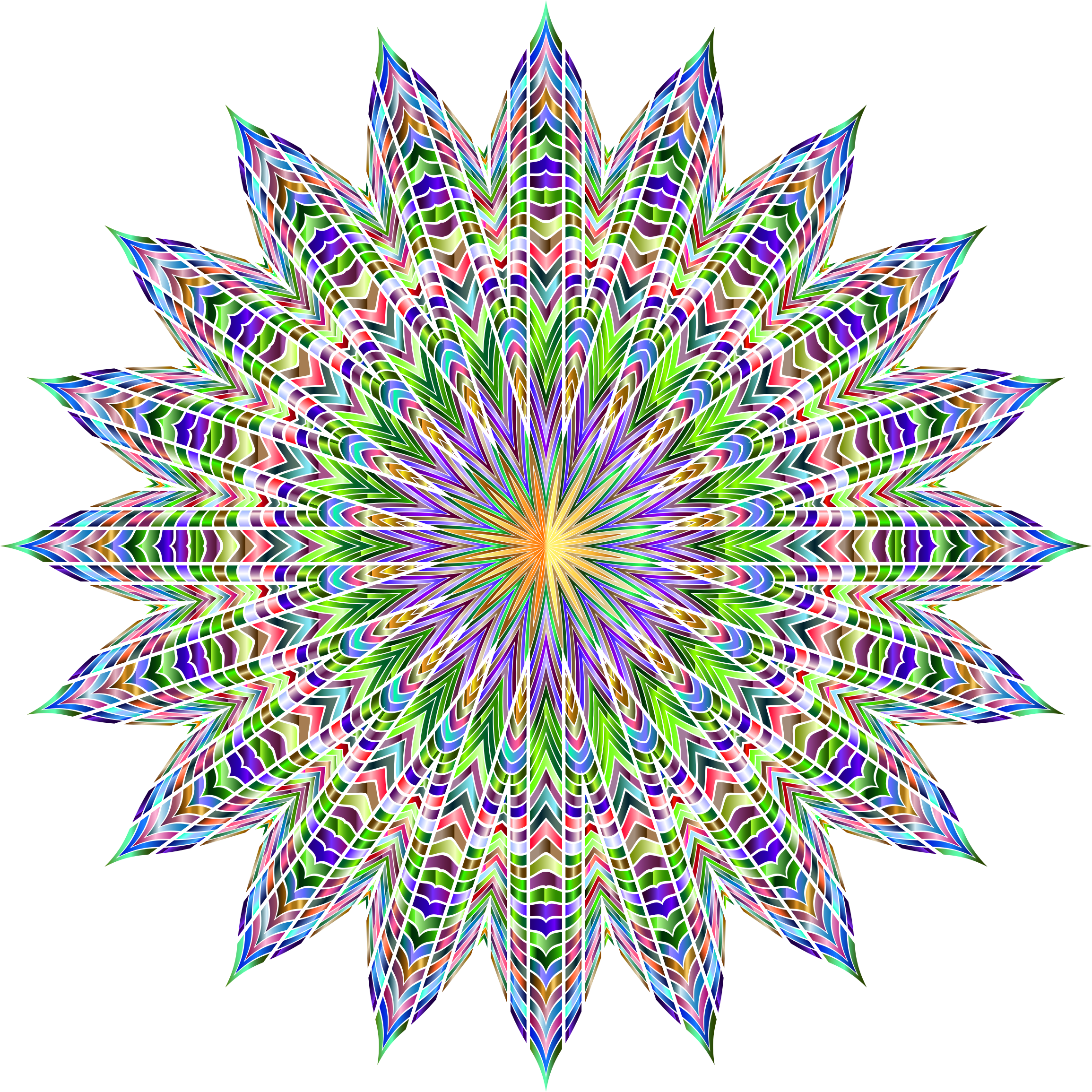 Chromatic Geometric Mandala No Background by GDJ