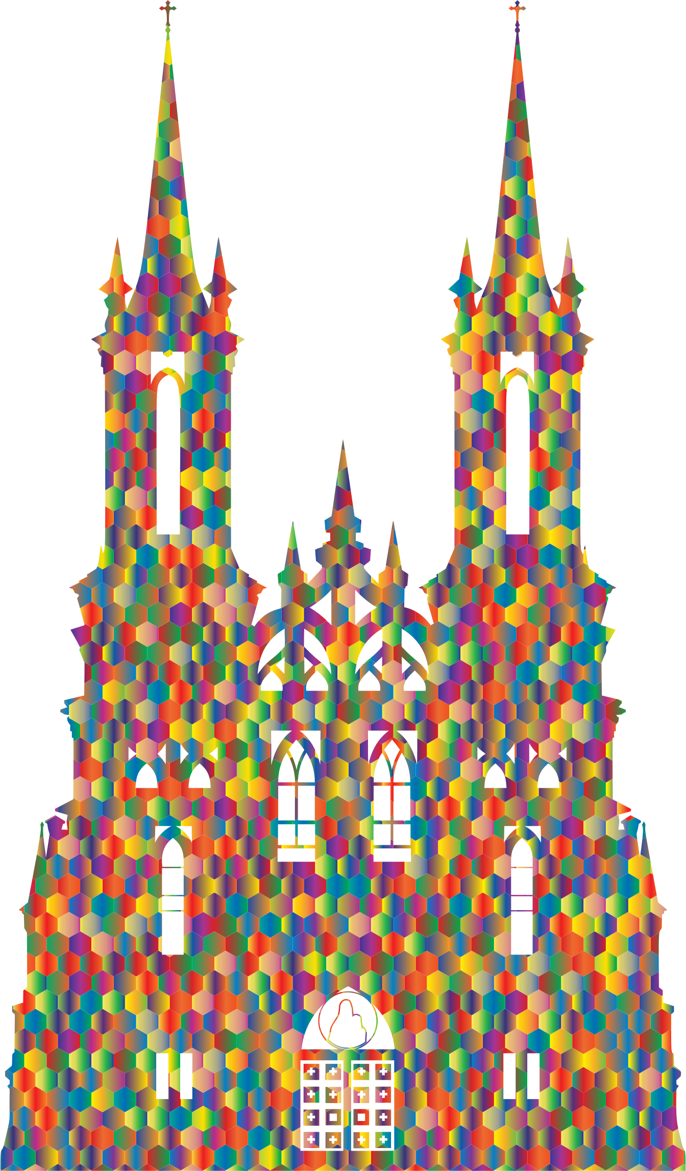 Polyprismatic Hexagonal Mosaic Gothic Castle Silhouette by GDJ