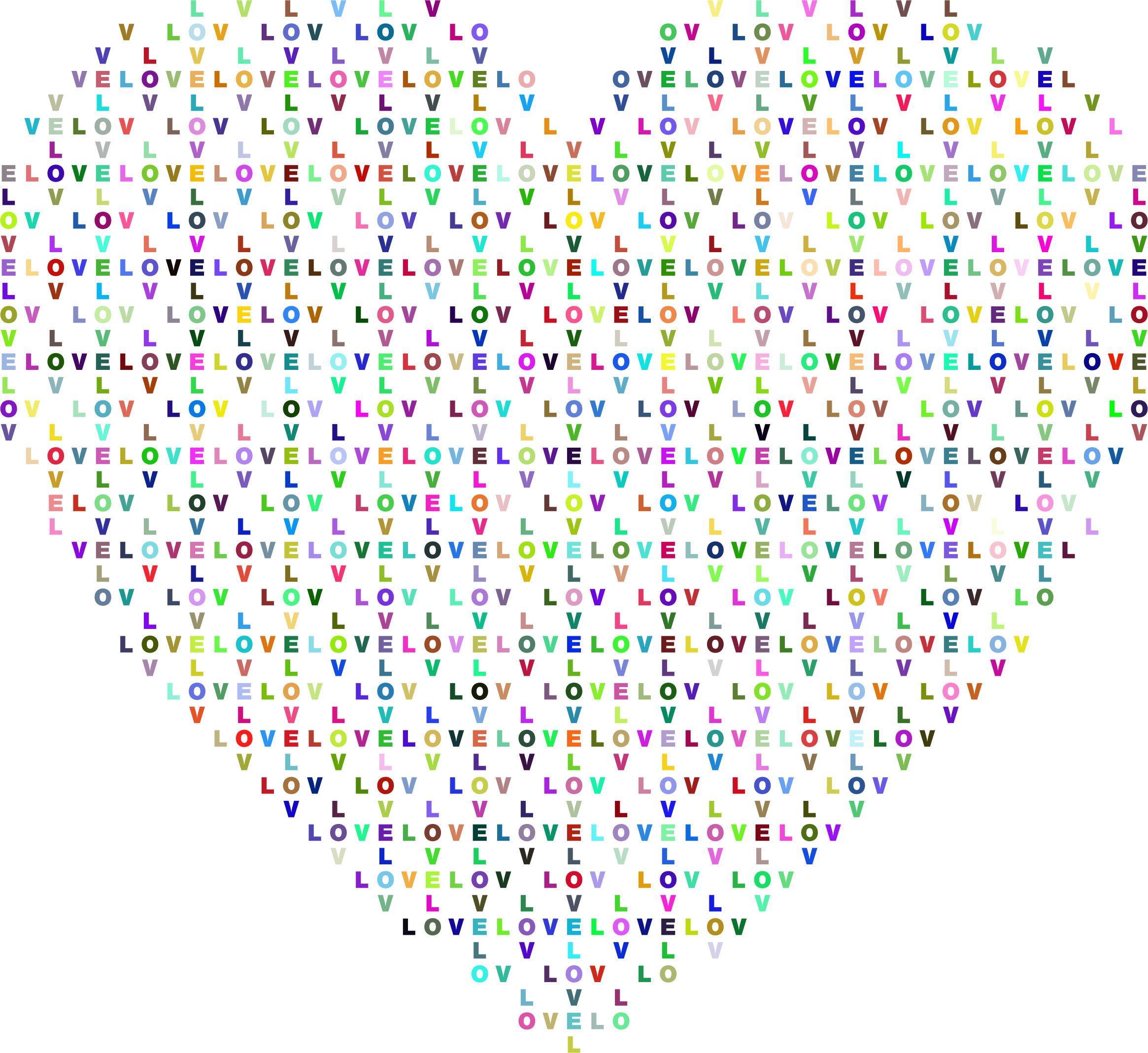 Prismatic Heart Love Typography by GDJ