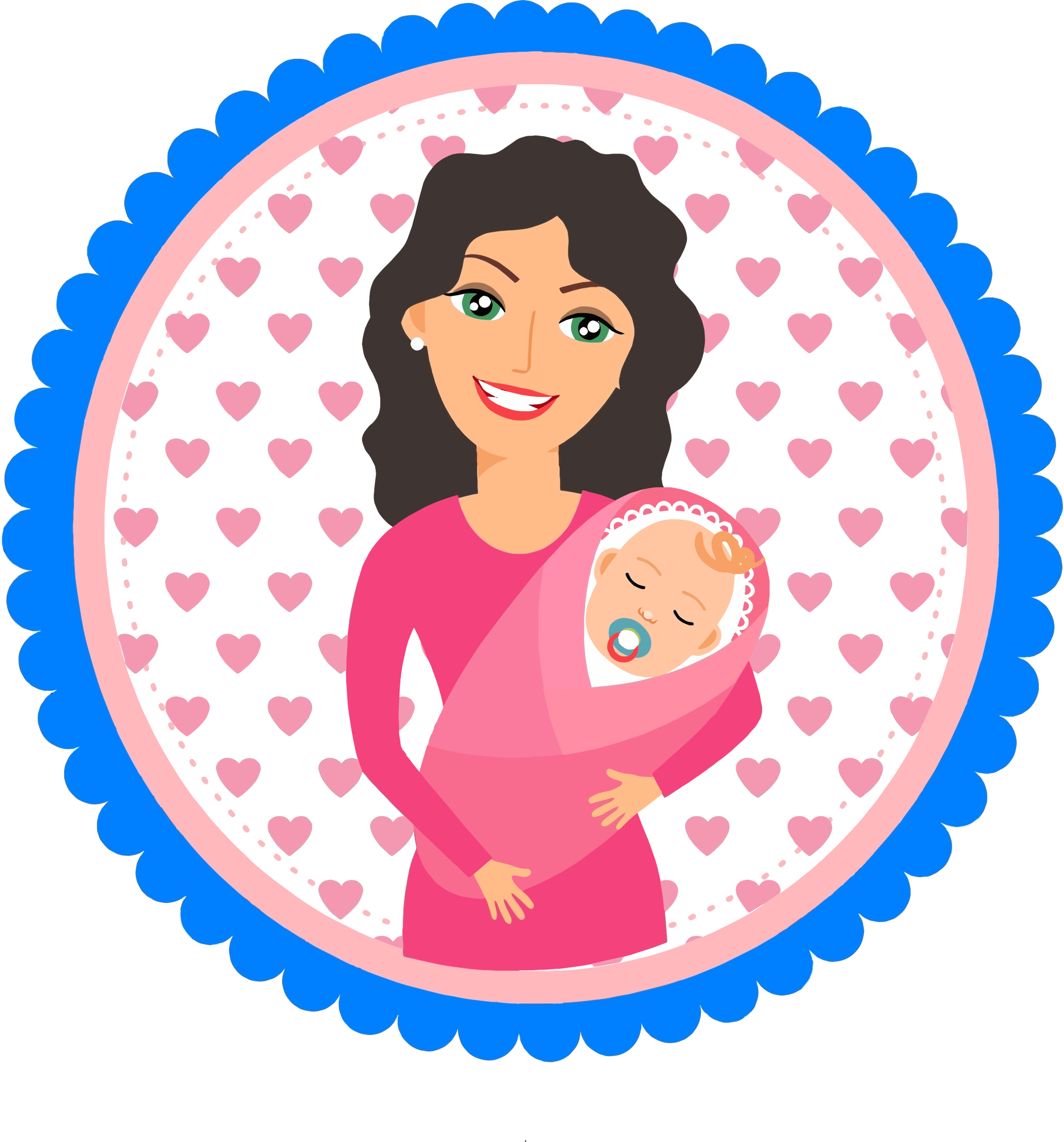 Mother Holding Baby Illustration by GDJ