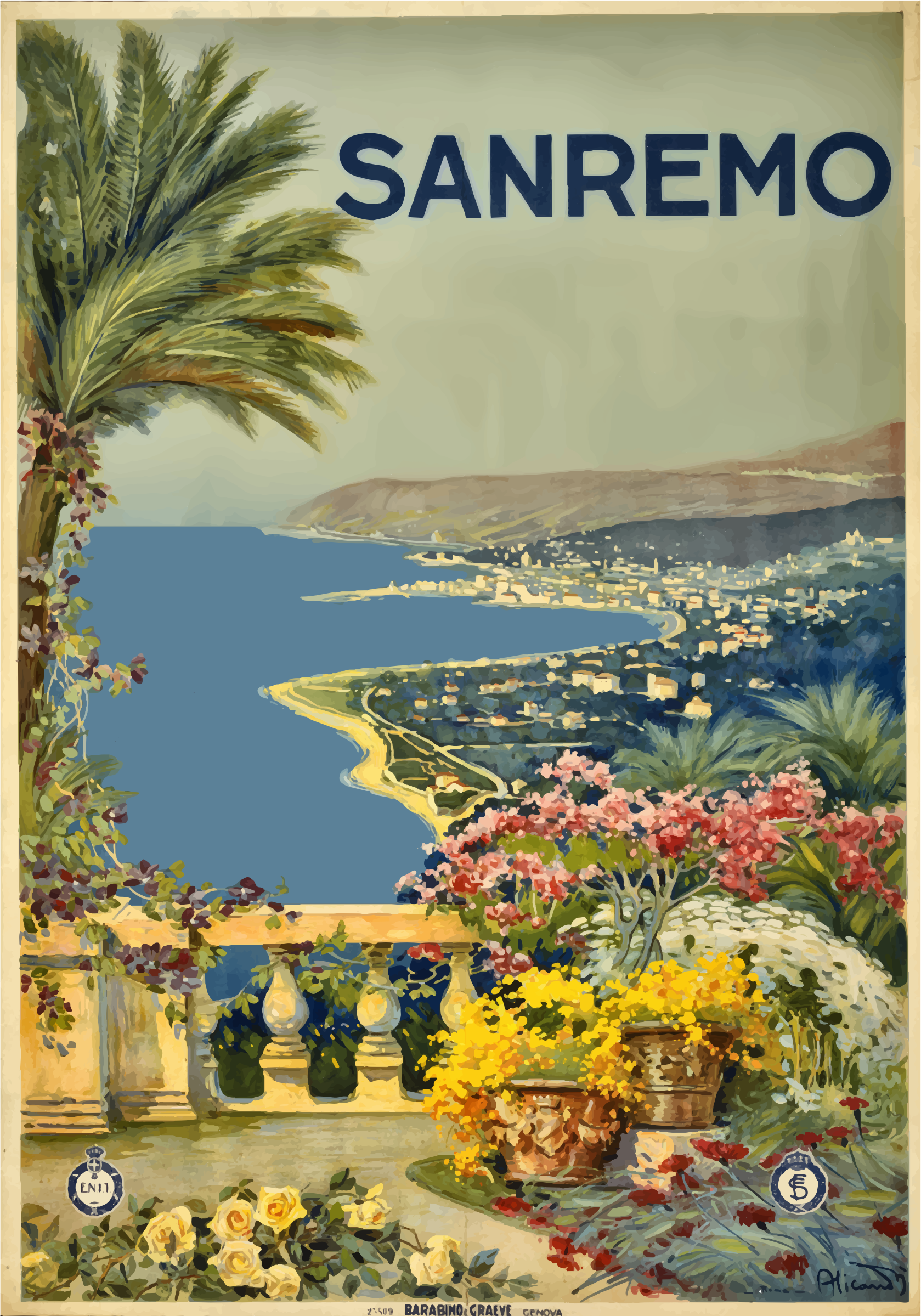 Sanremo Italy Vintage Travel Poster Trace 2 by GDJ