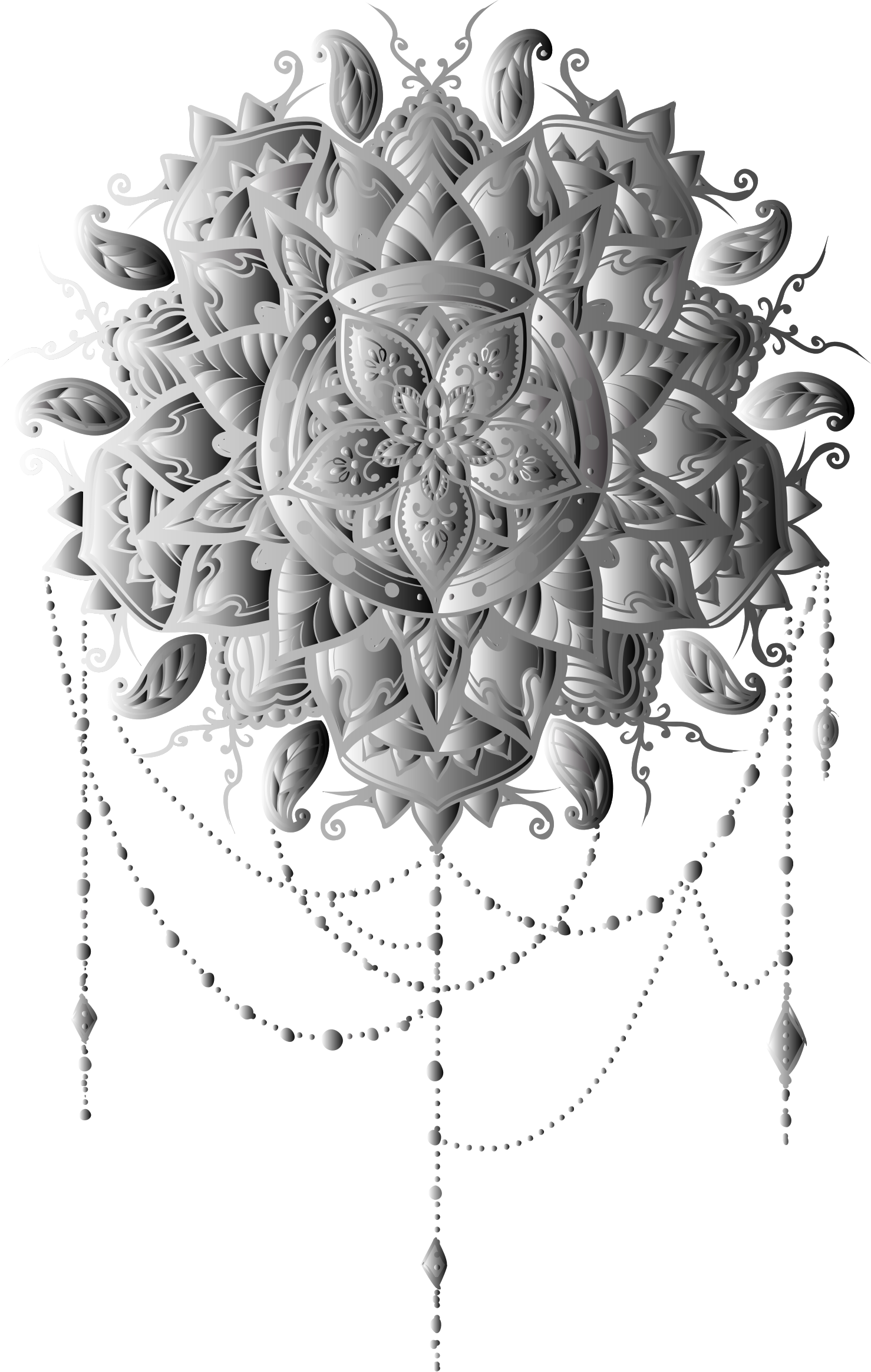 Grayscale Intricate Floral Mandala by GDJ