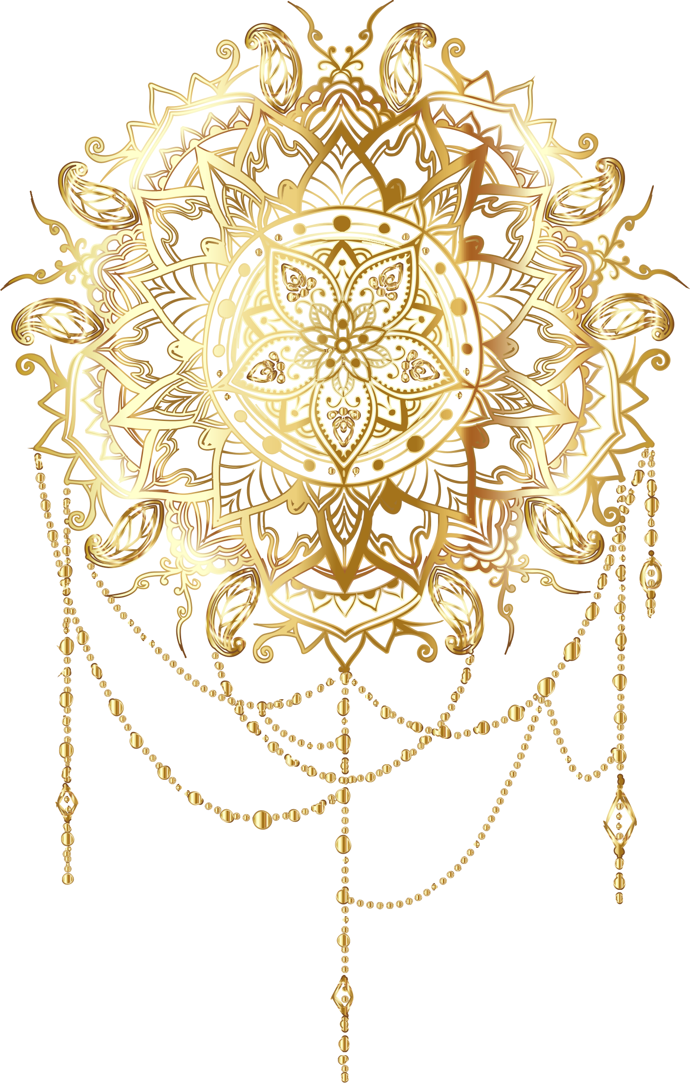 Gold Intricate Floral Mandala No Background by GDJ
