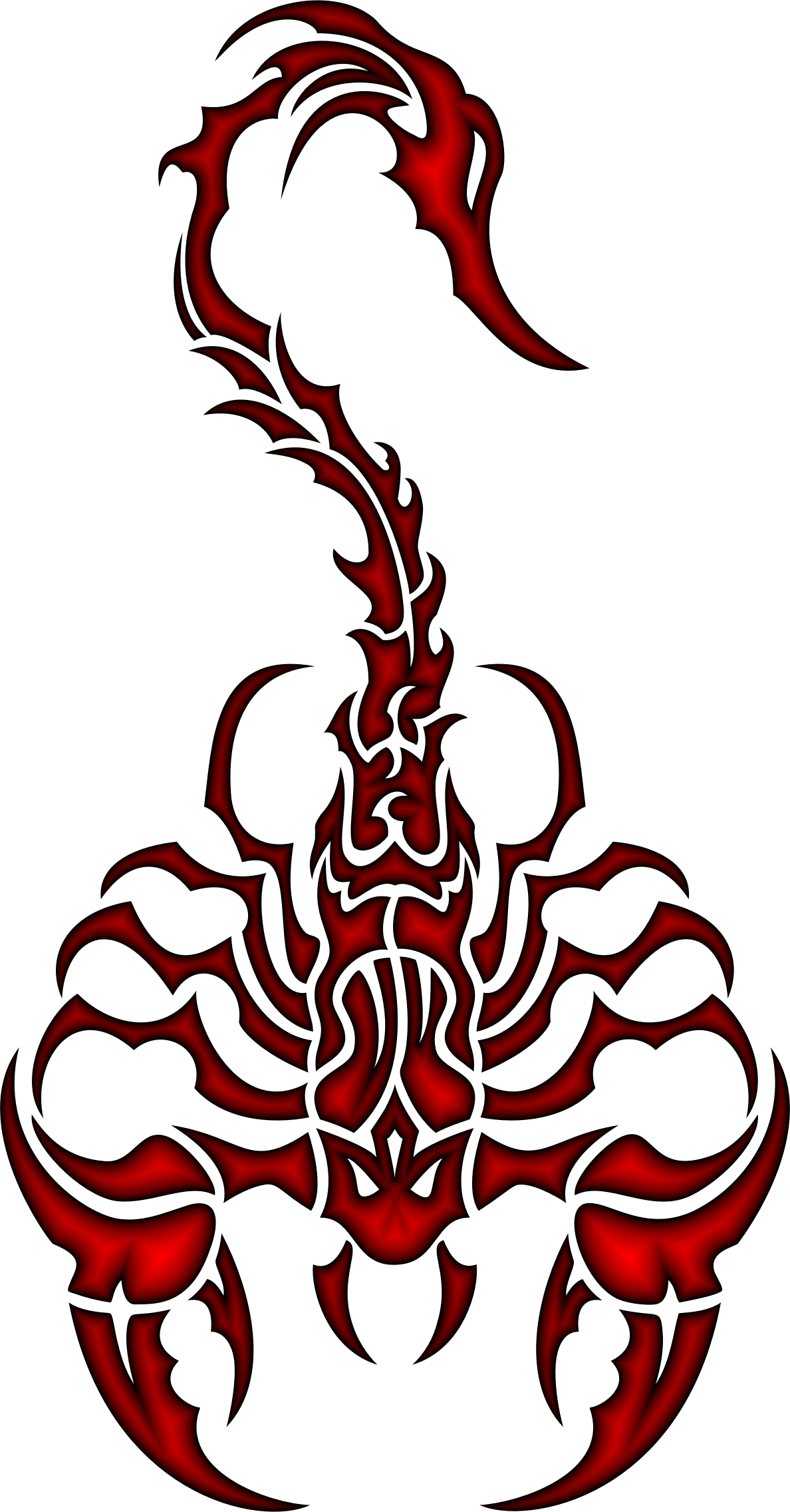 Clipart Sleek Tribal Scorpion Crimson