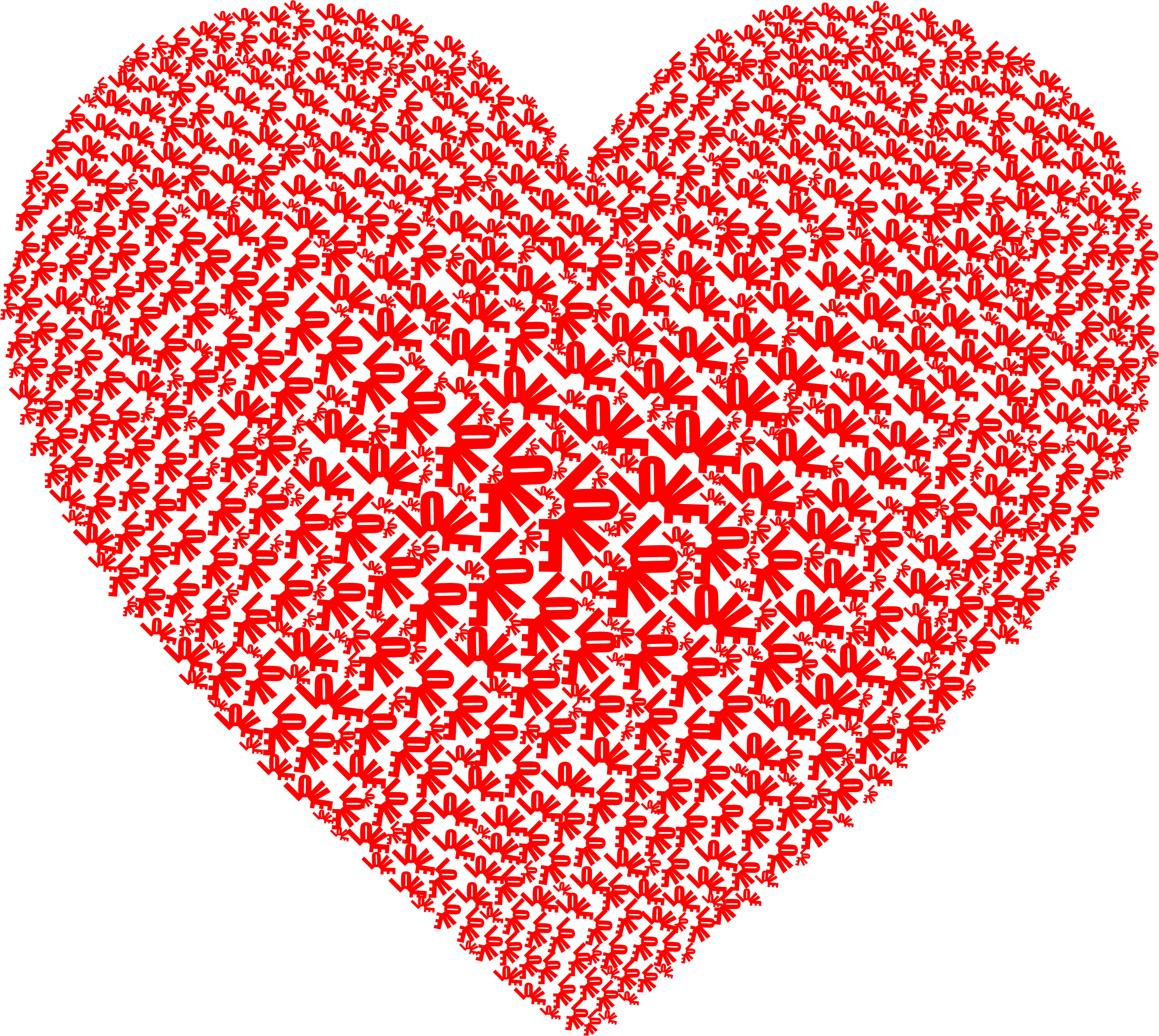 Love Heart Word Cloud Red by GDJ