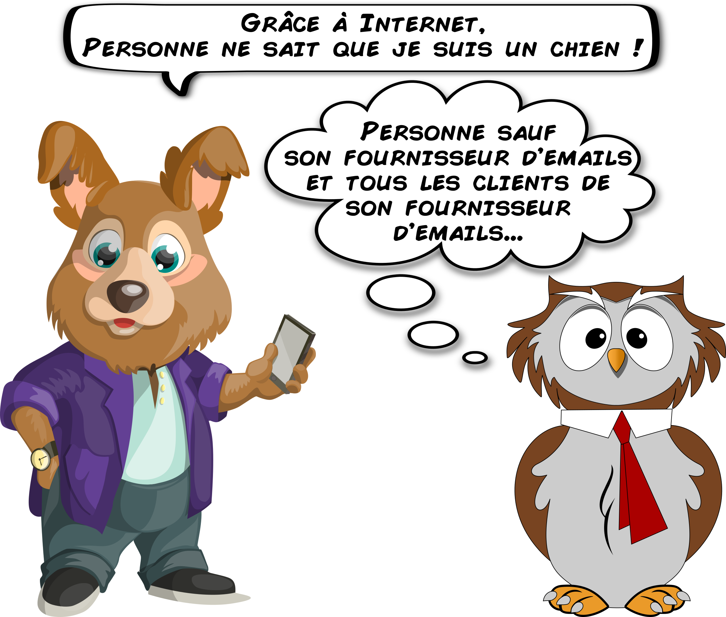 A dog and an owl about email privacy (French) by sodruls