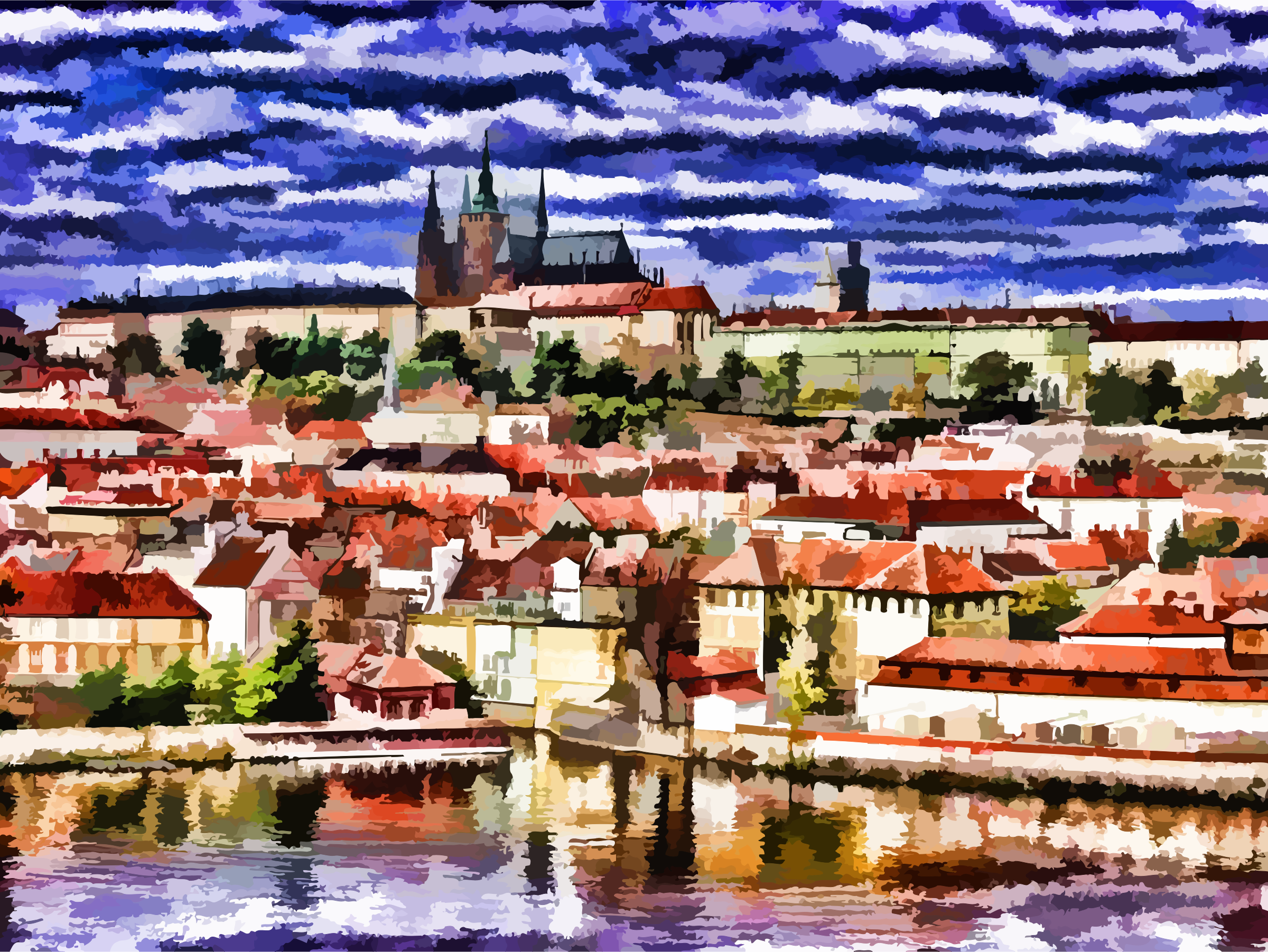 Stylized Painting Of The City Of Prague by GDJ