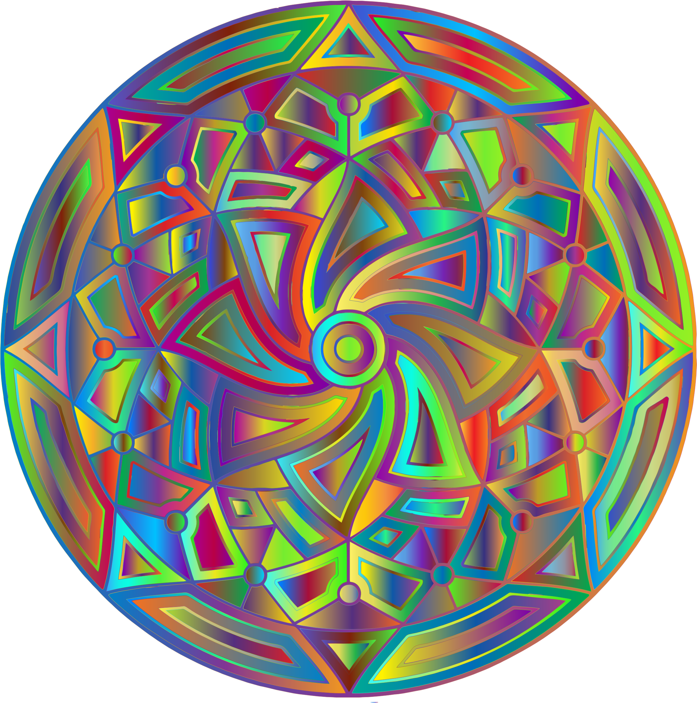 Round Mandala Design Prismatic 2 by GDJ