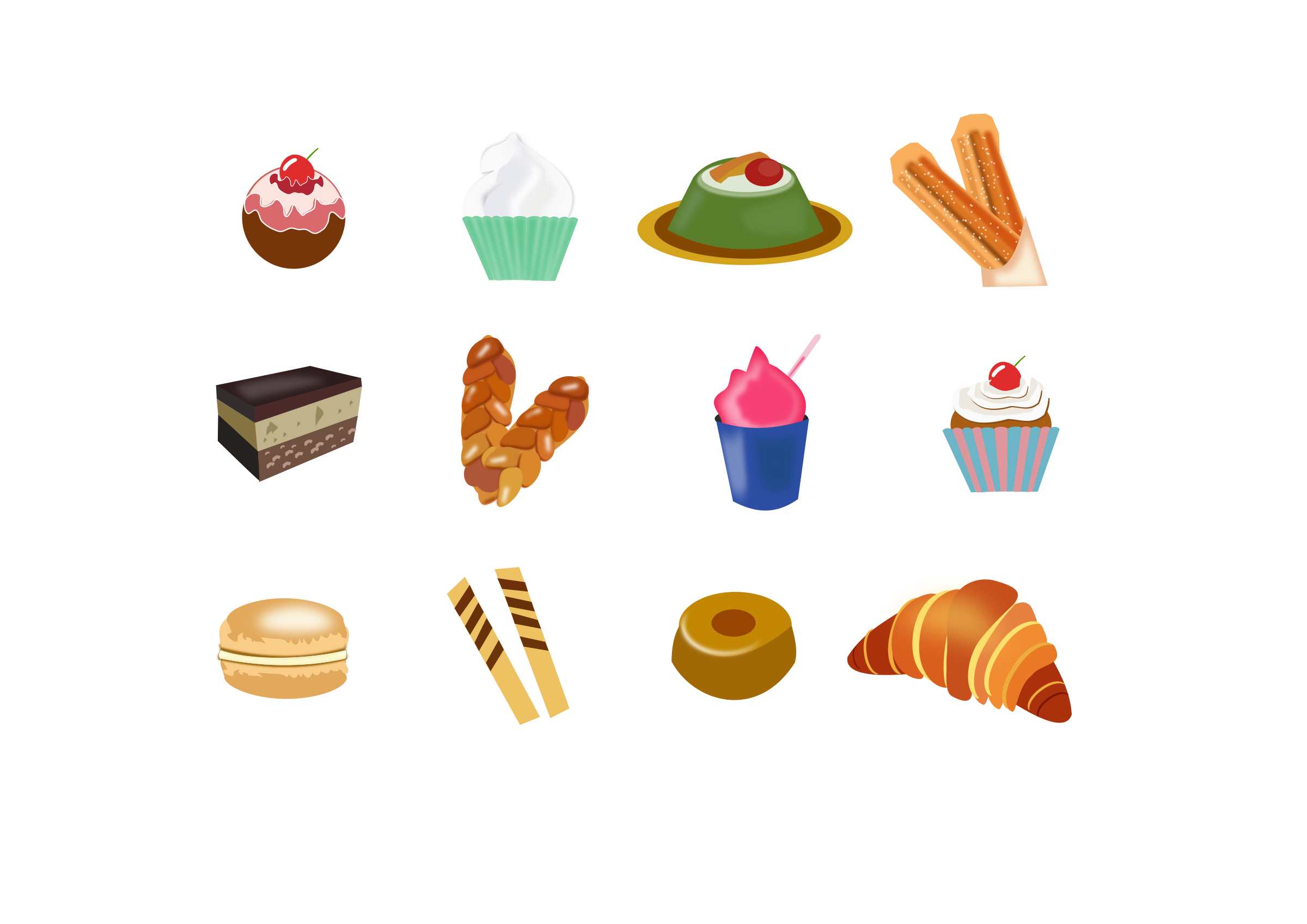 Icons Dessert from around the world by inkscapeforum.it