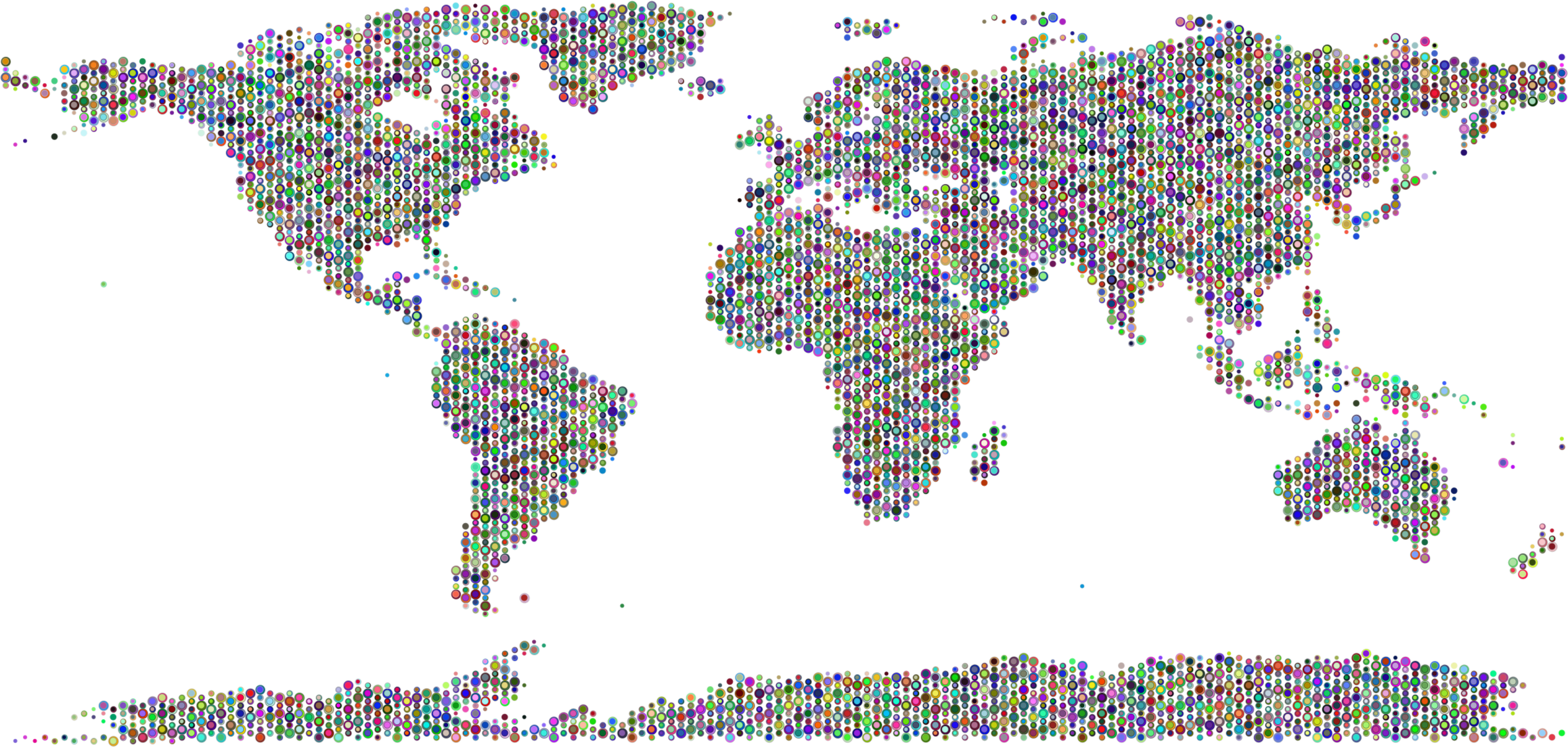 World Map Bubbles Prismatic by GDJ