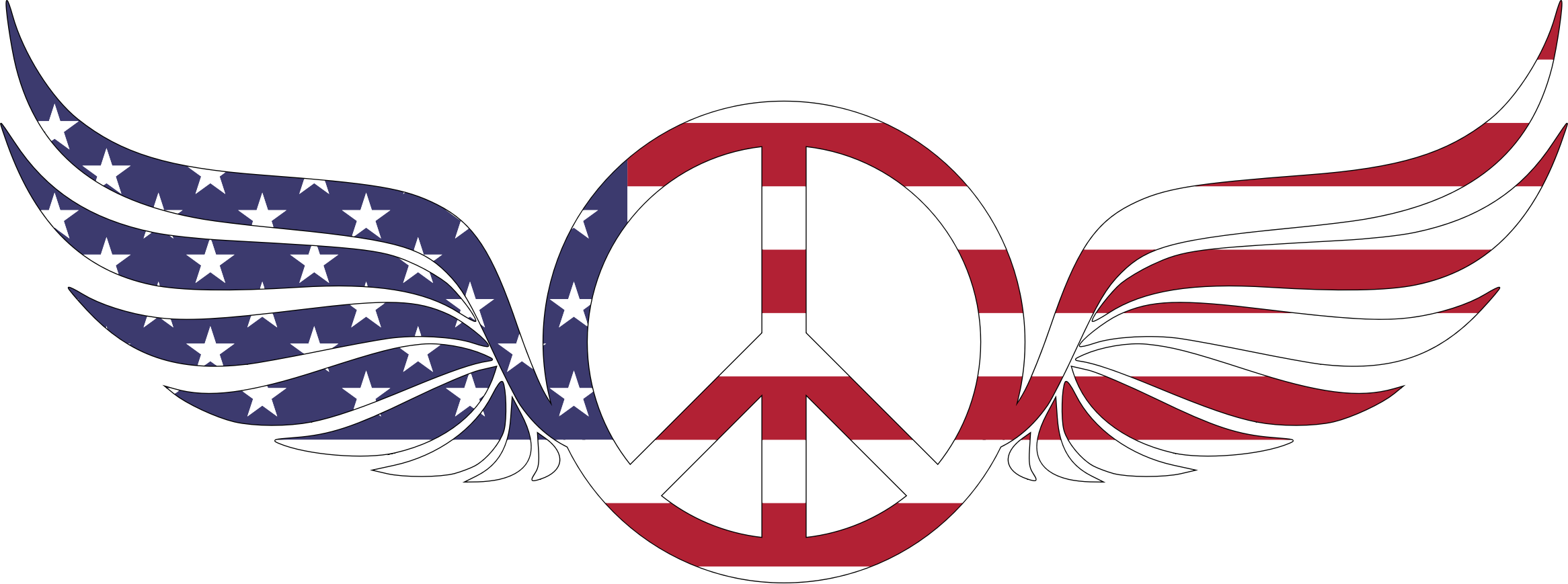 American Peace Sign With Wings With Stroke by GDJ