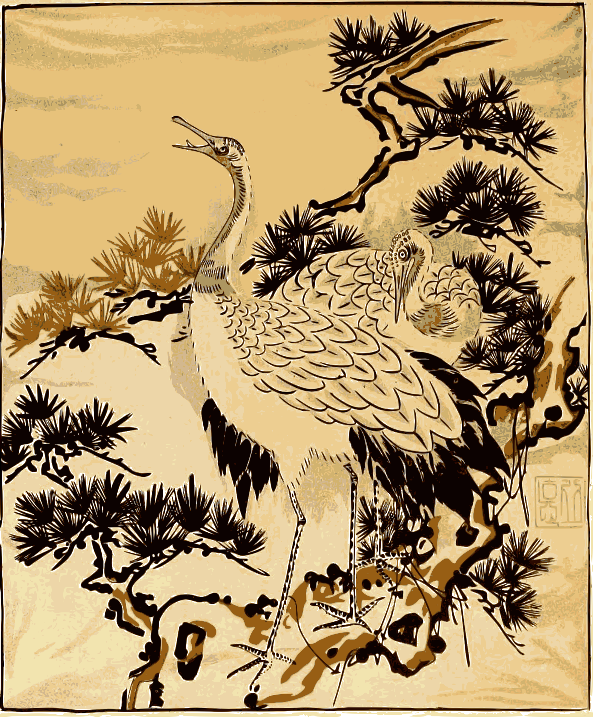 Japanese crane drawing