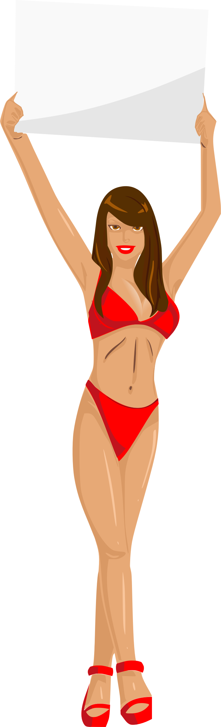 Clipart Girl With Sign Red Bikini Brown Hair Light Skin