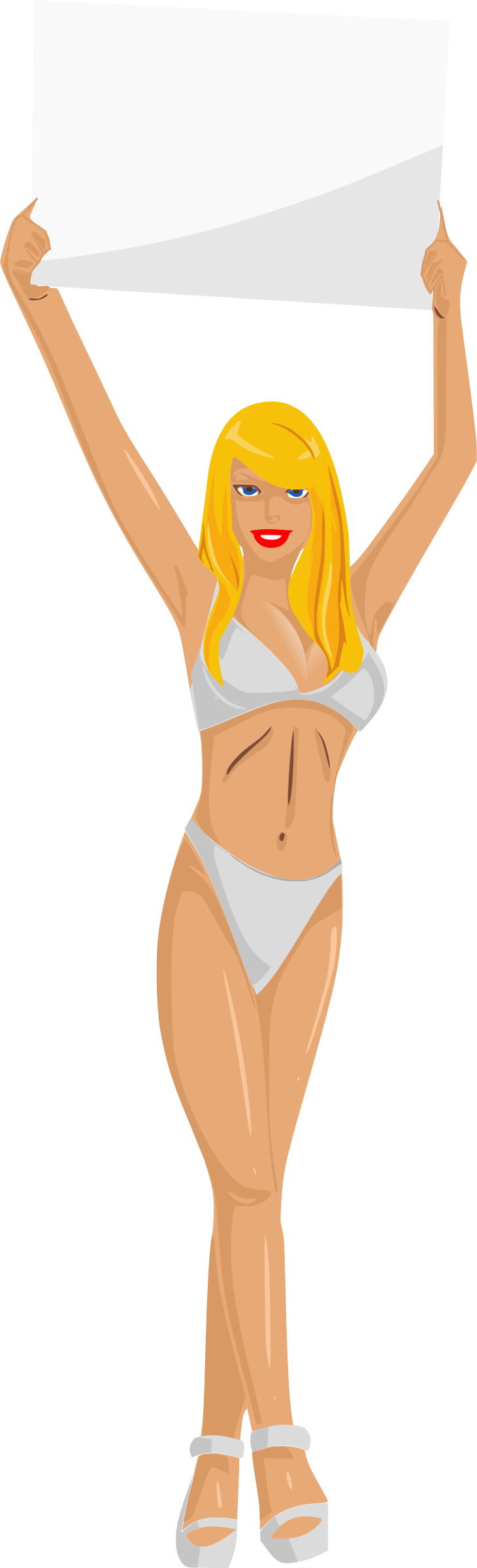 Girl with sign (white bikini, blonde hair, light skin) by Firkin