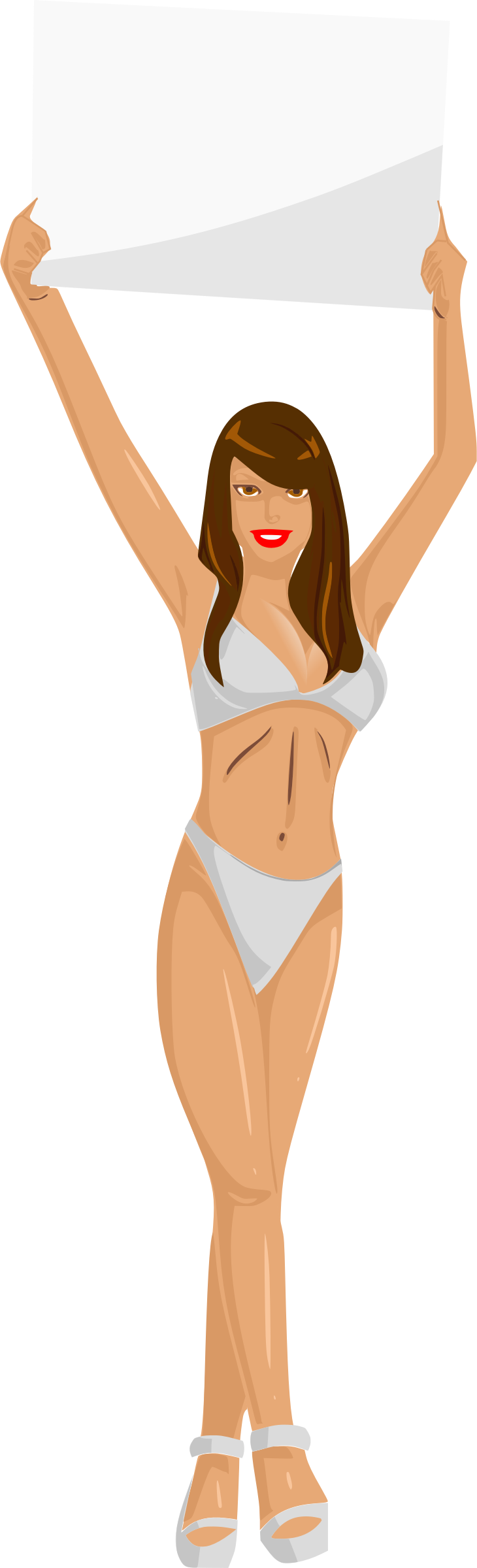 Girl with sign (white bikini, brown hair, light skin) by Firkin