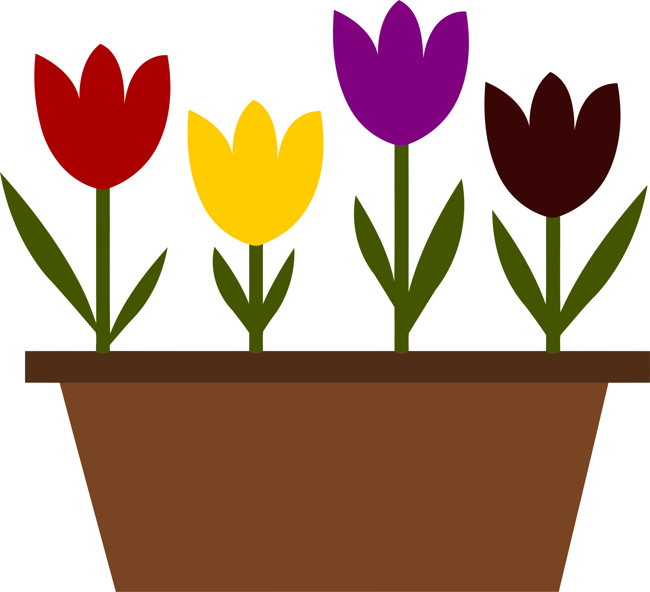 Potted tulips vectorized by Firkin