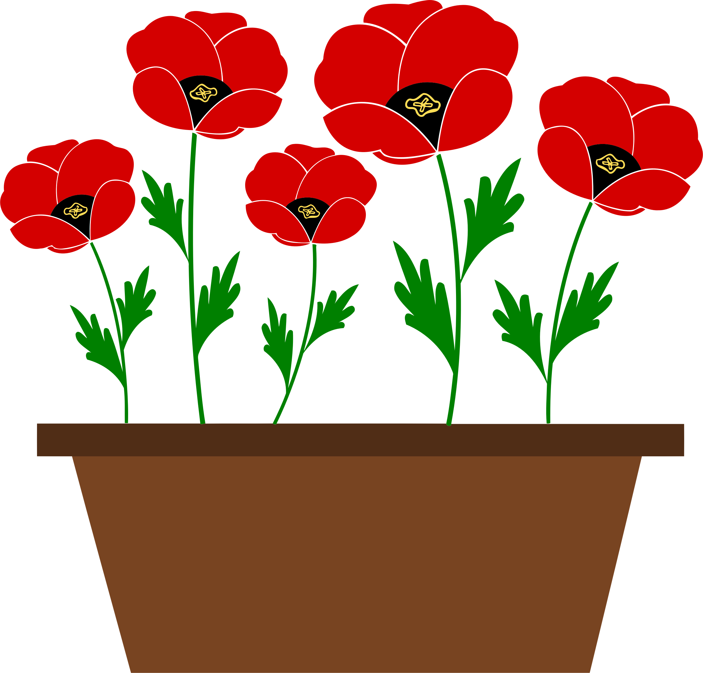 Potted poppies vectorized by Firkin