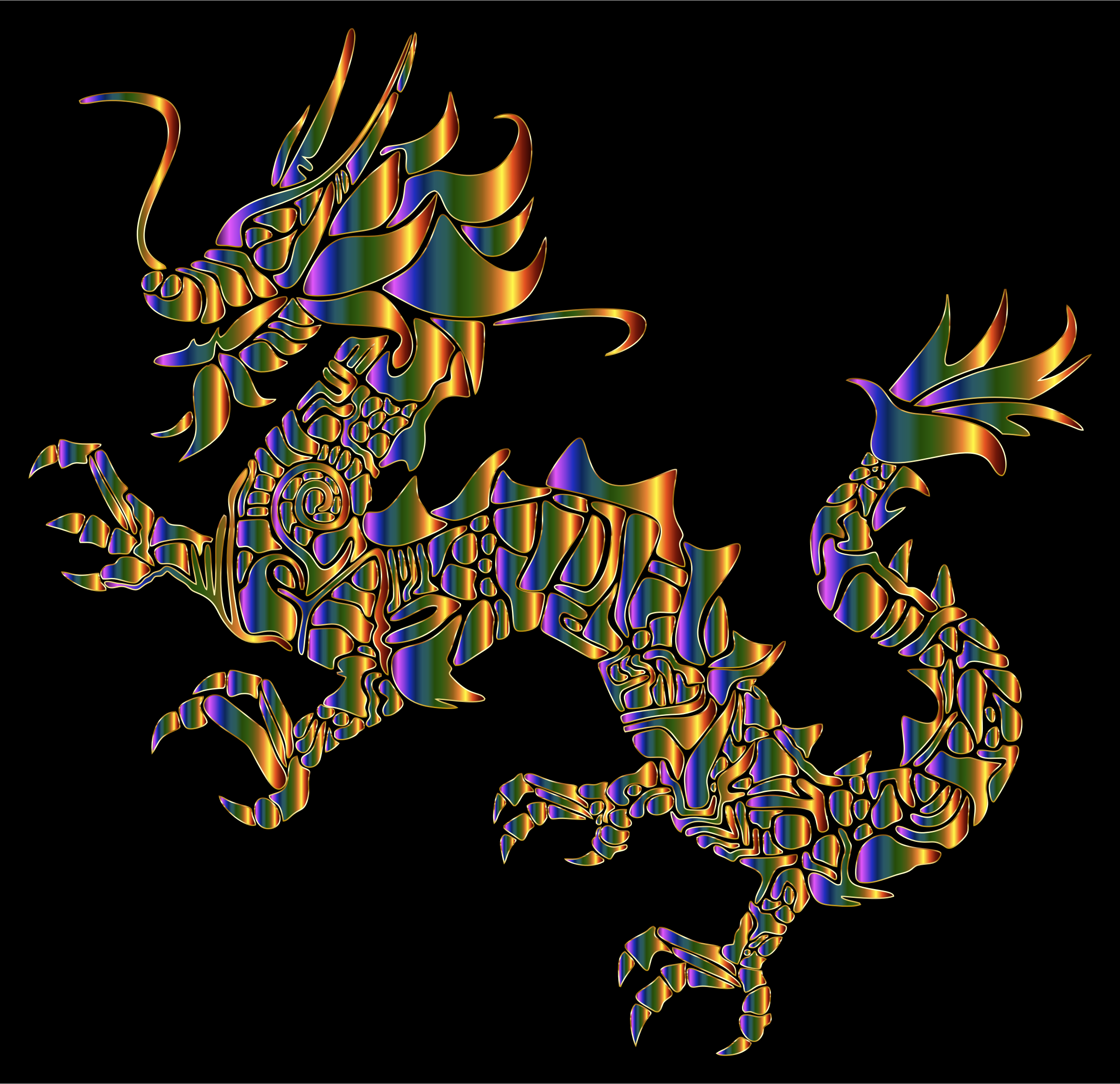 Chromatic Tribal Asian Dragon Silhouette by GDJ