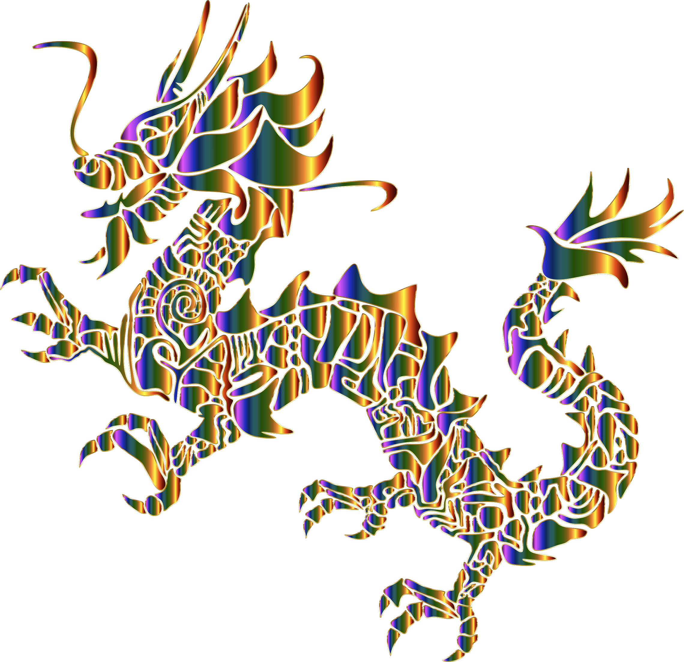 Chromatic Tribal Asian Dragon Silhouette No Background by GDJ