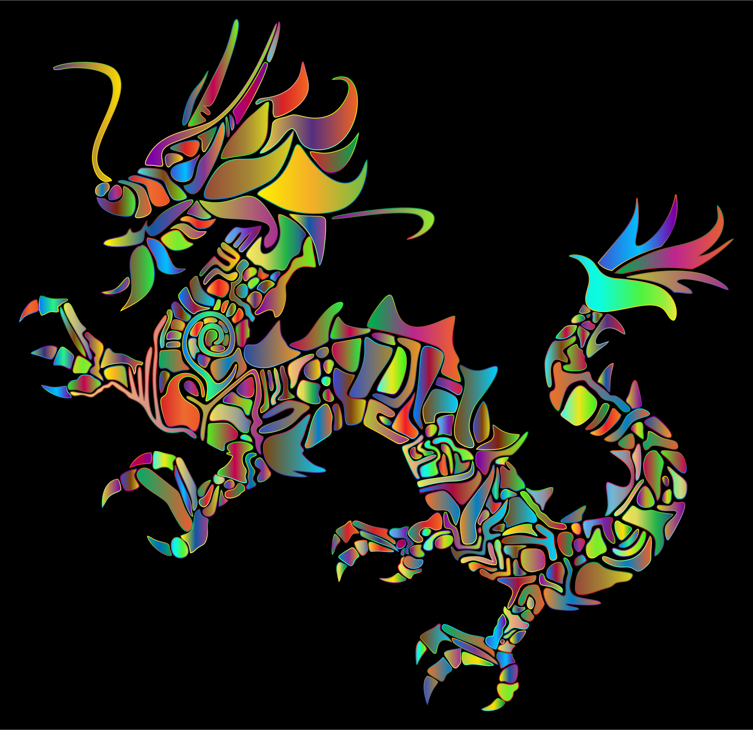 Polyprismatic Tribal Asian Dragon Silhouette by GDJ