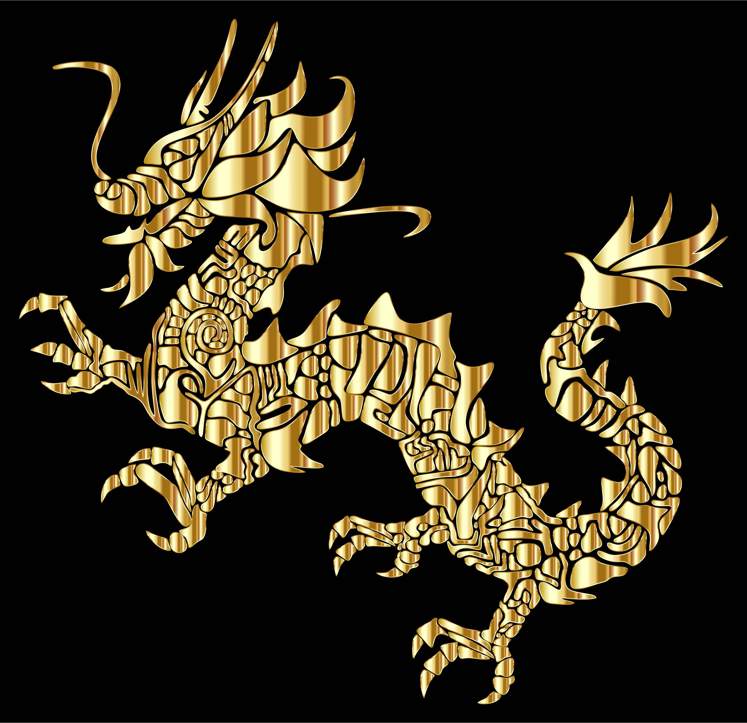Gold Tribal Asian Dragon Silhouette by GDJ
