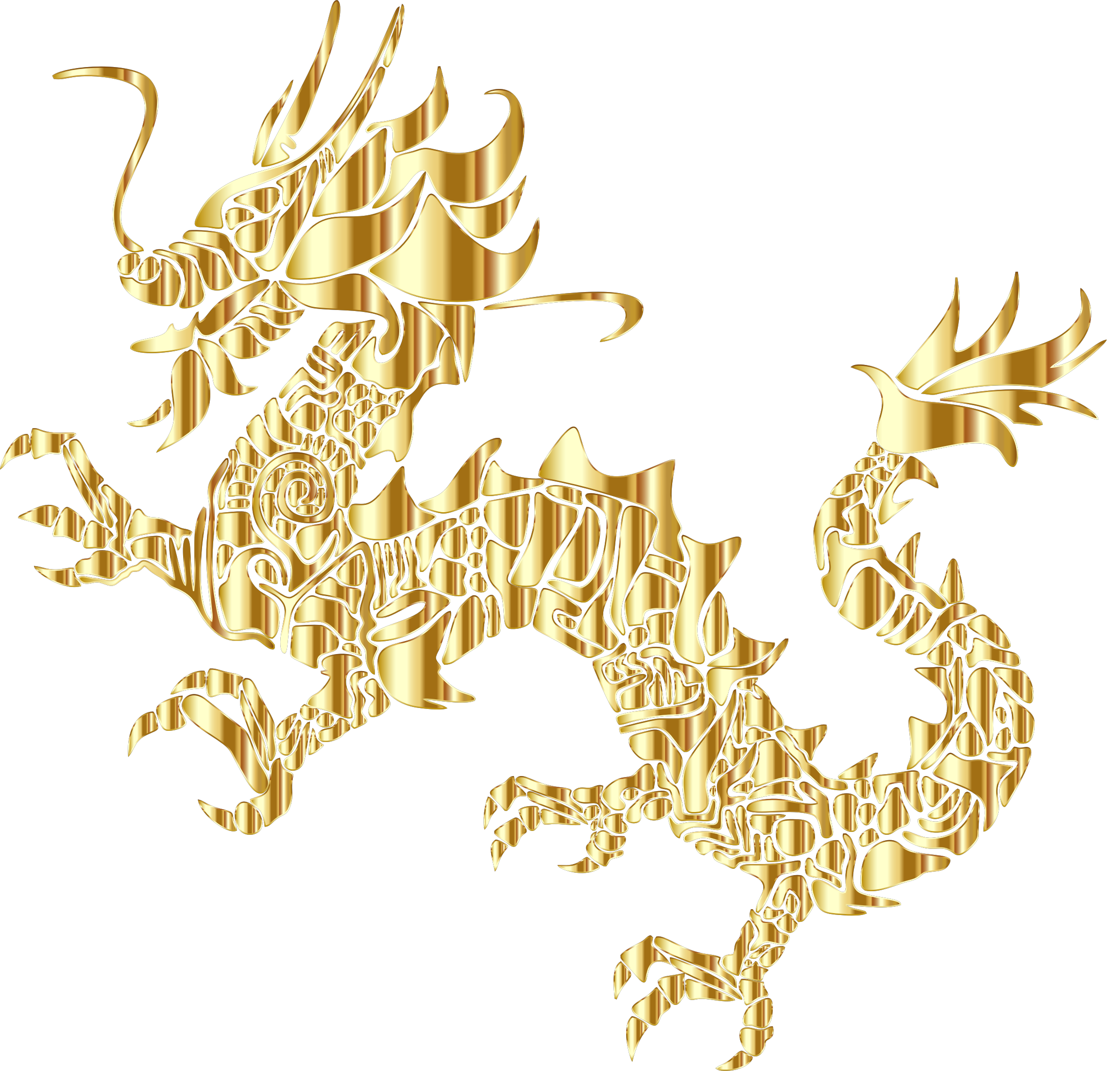 Gold Tribal Asian Dragon Silhouette No Background by GDJ