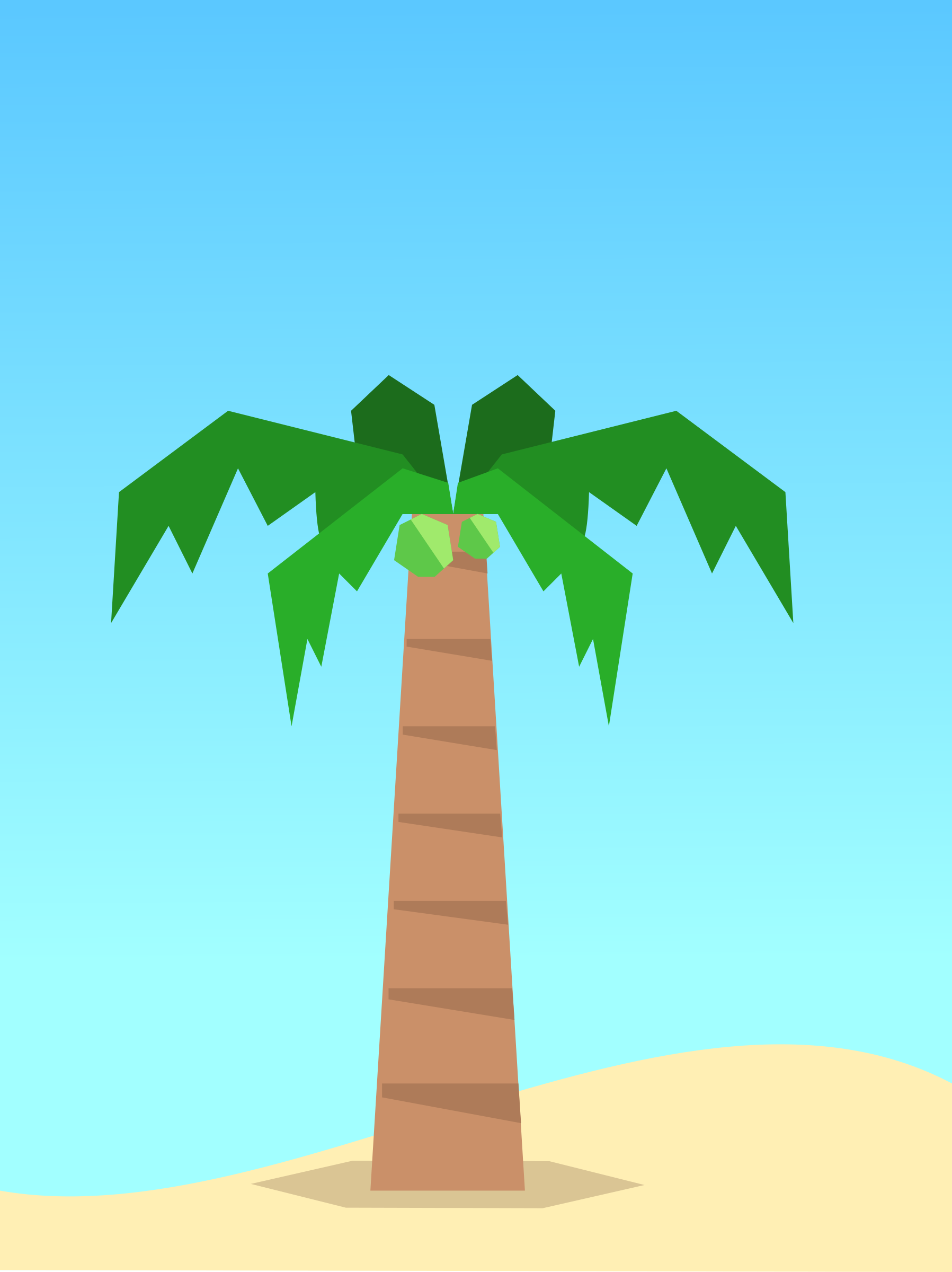 Beach scene with Coconut tree minimal design background by monsterbraingames