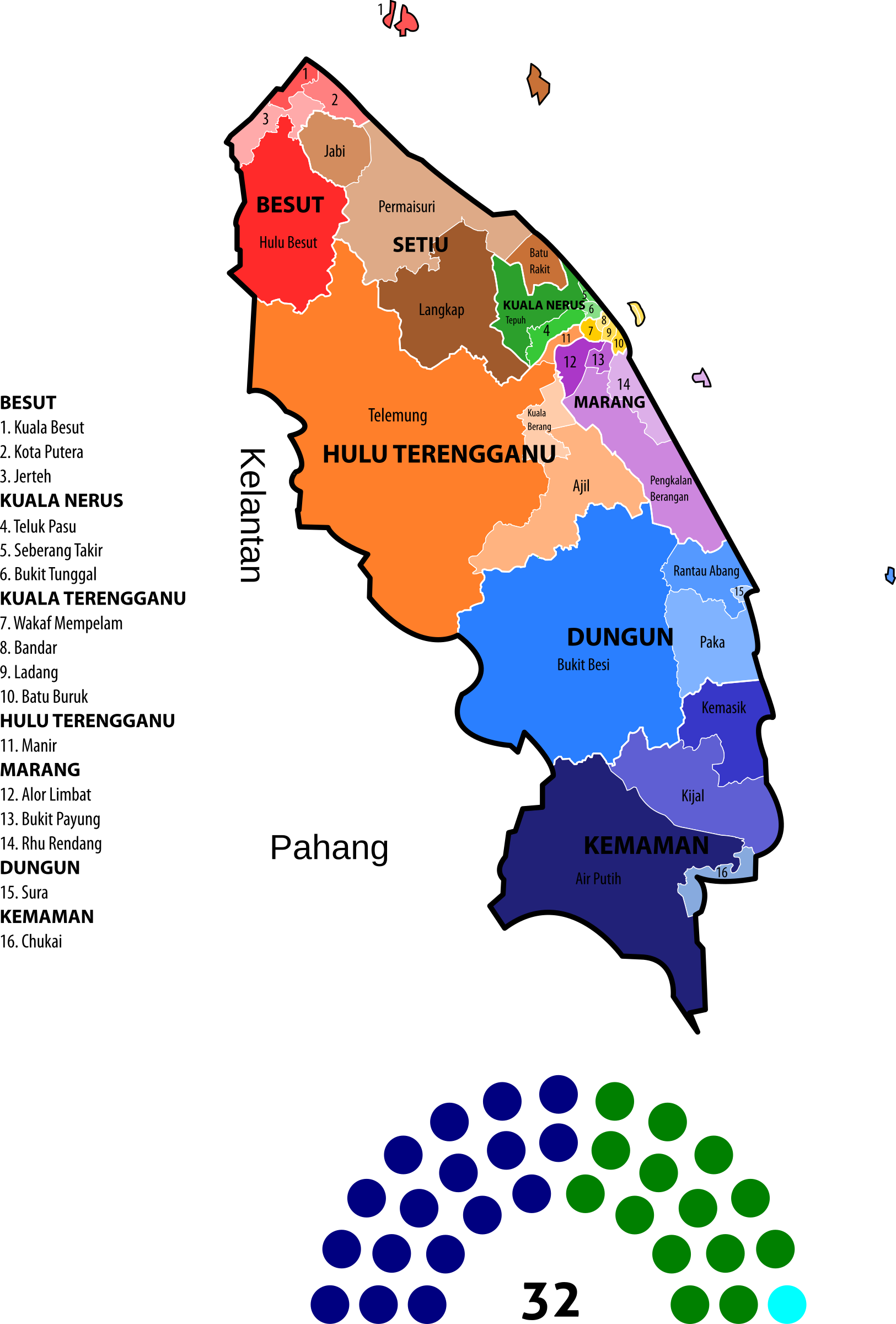 Terengganu State Legislative Assembly Constituencies (2013) by derkommander0916