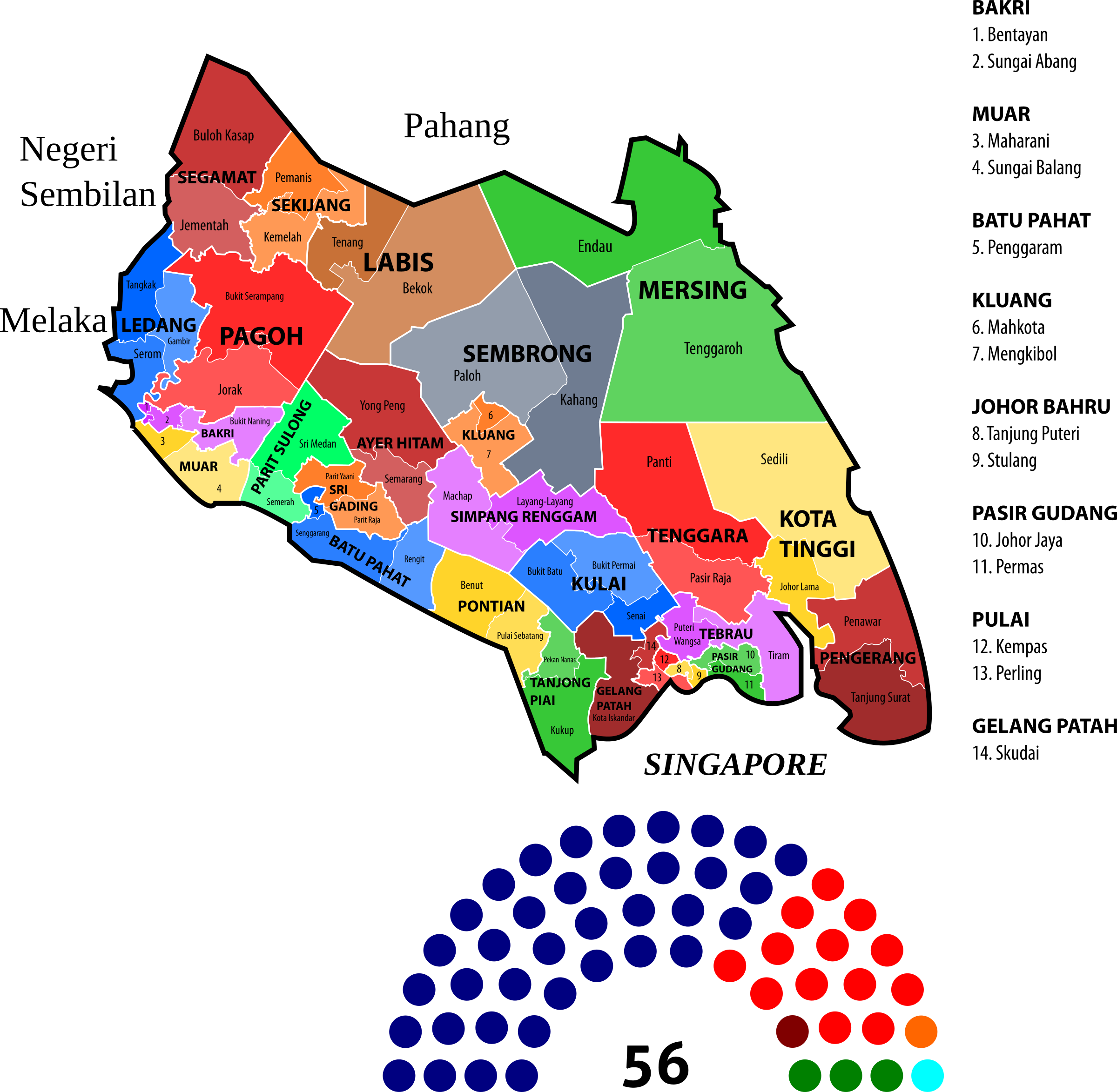 Johor State Legislative Assembly Constituencies (2013) by derkommander0916