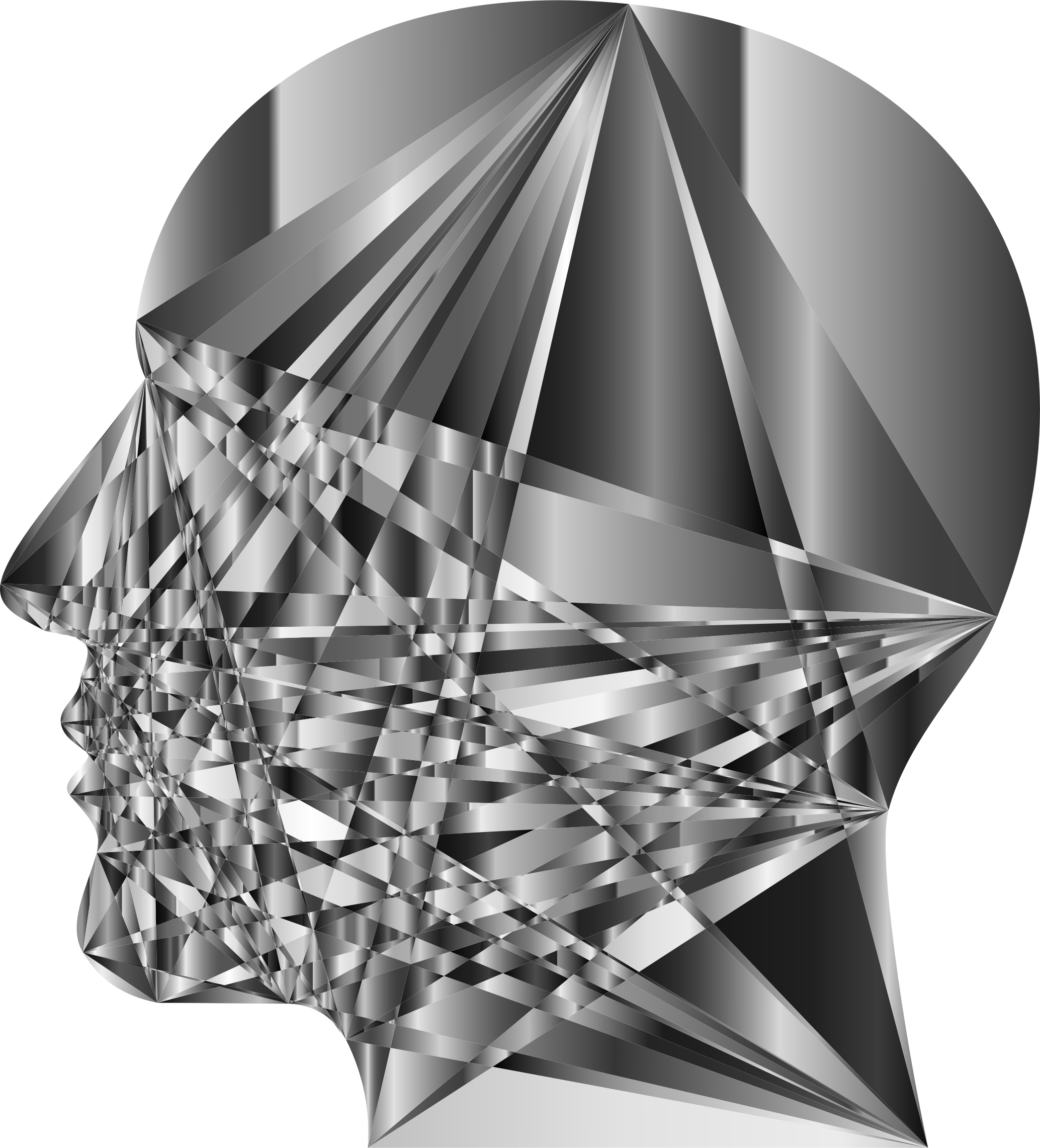 Grayscale Geometric Man Head by GDJ
