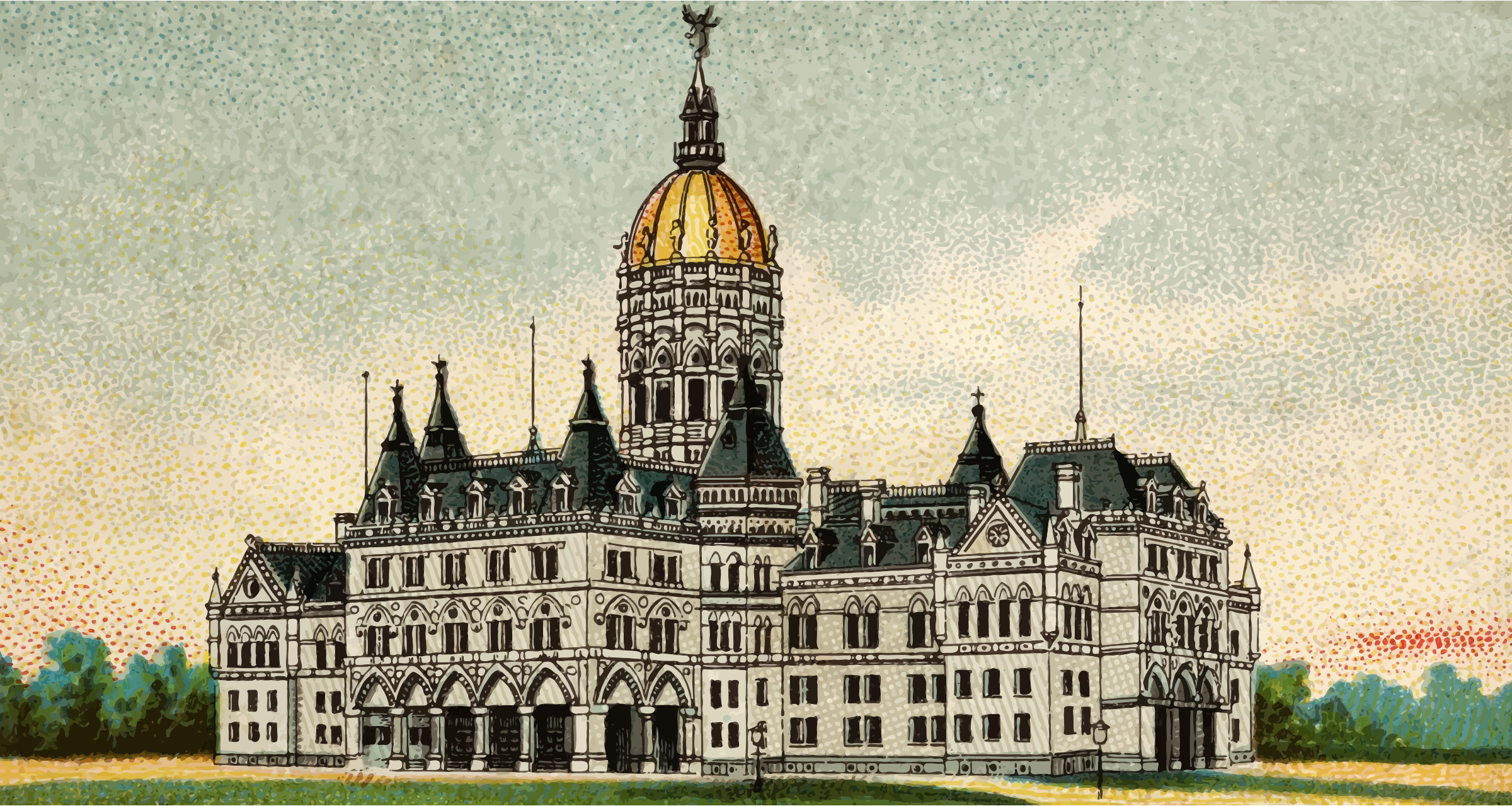 Cigarette Card - Capitol Building of Connecticut by Firkin