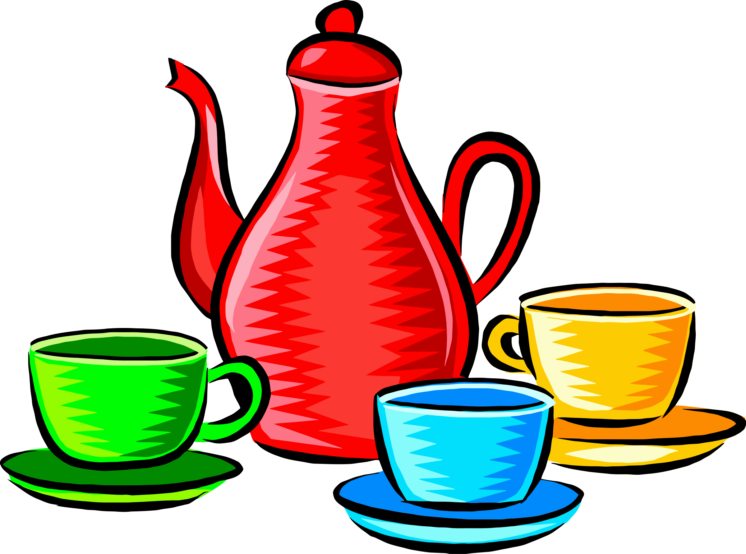 Coffee pot and cups (colour) by Firkin