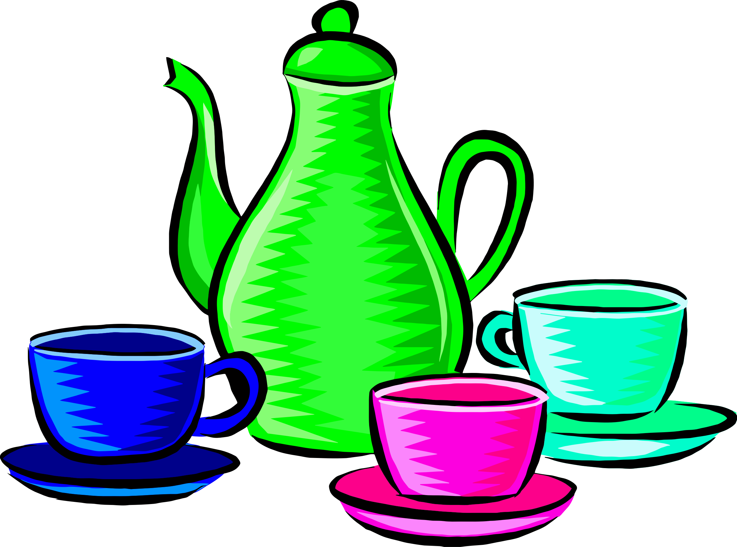 Coffee pot and cups (colour 2) by Firkin