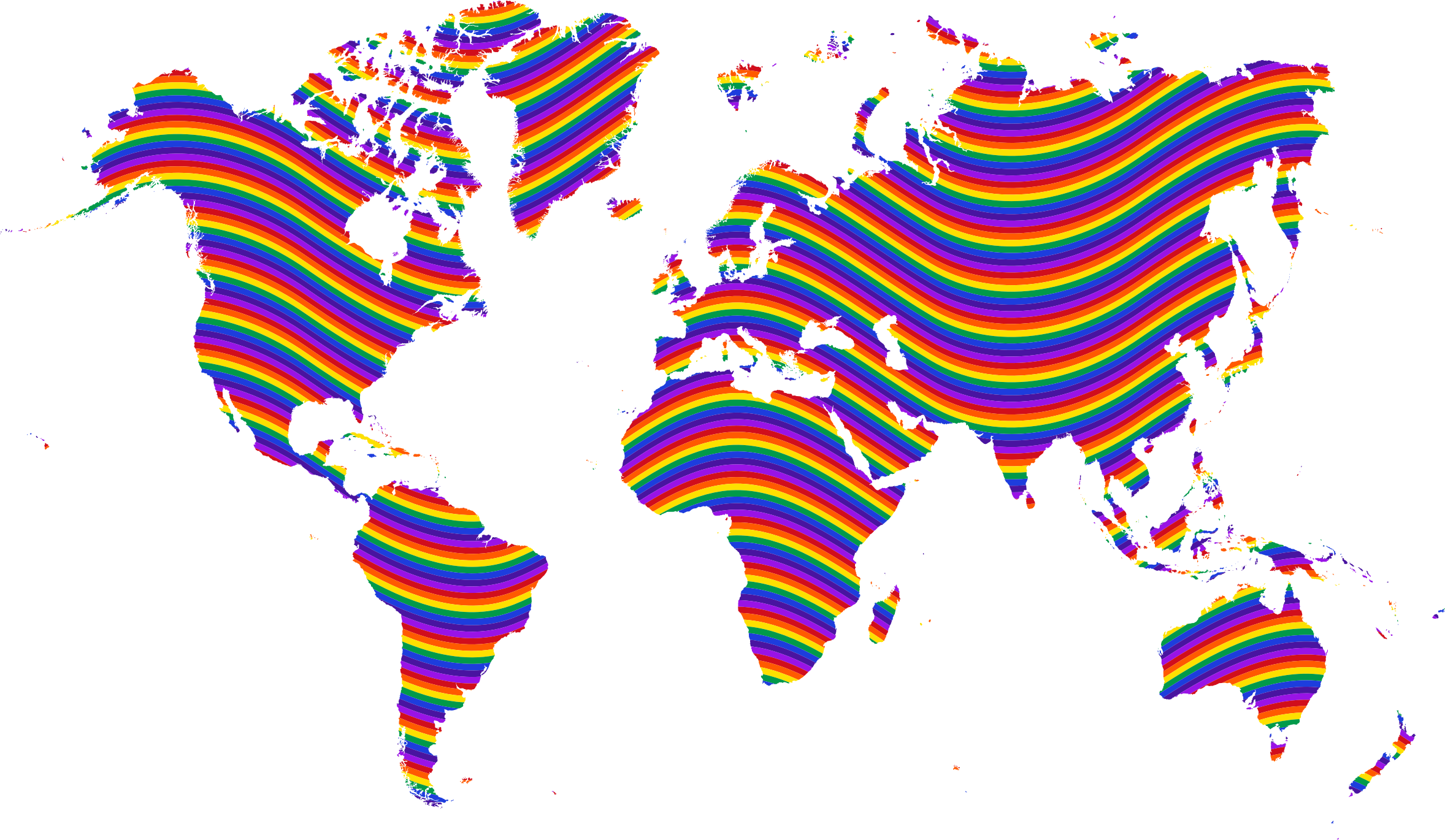 Rainbow Waves World Map by GDJ