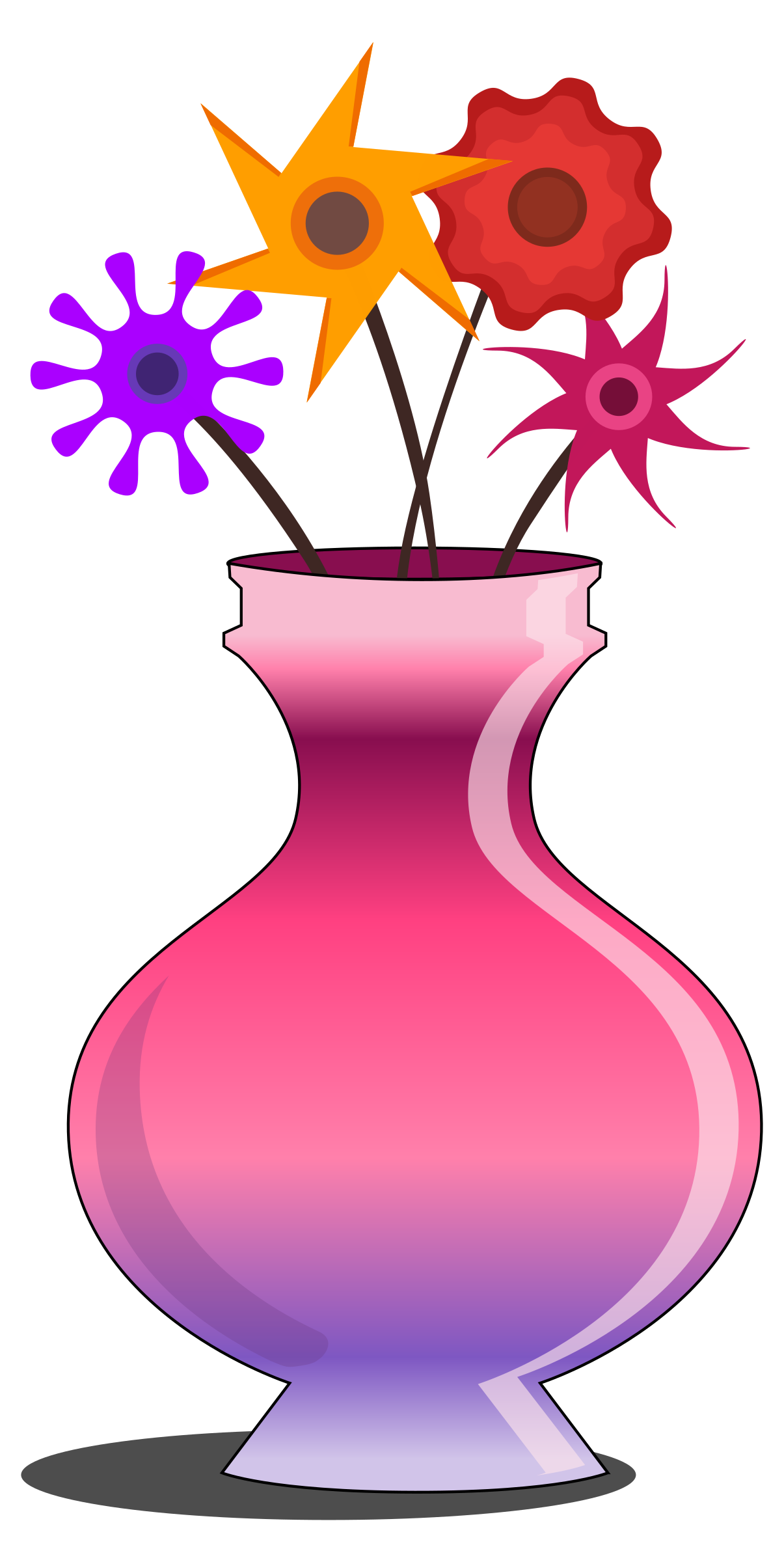 Flower vase pink with flowers by monsterbraingames
