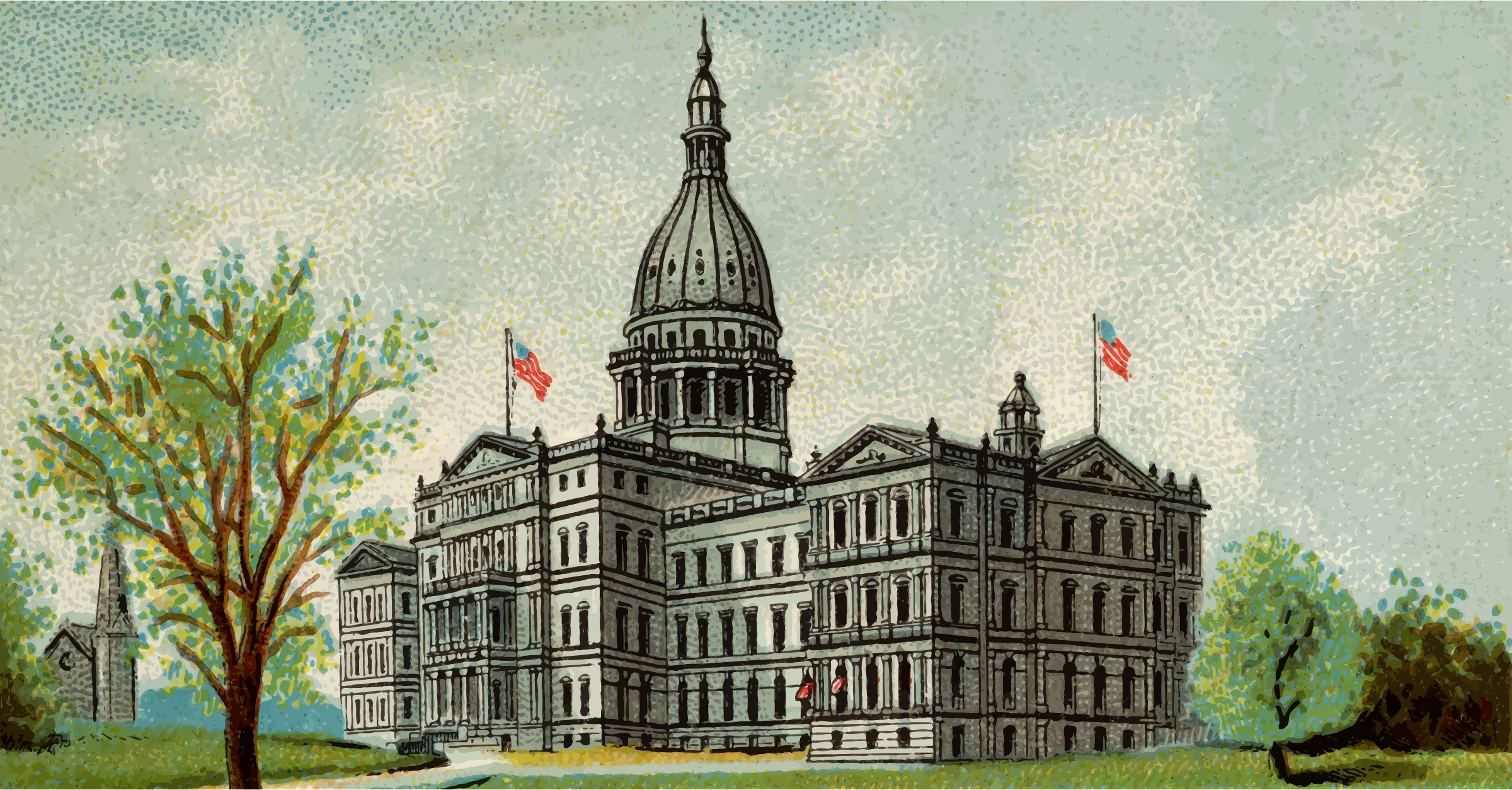 Cigarette Card - Capitol Building of Michigan by Firkin